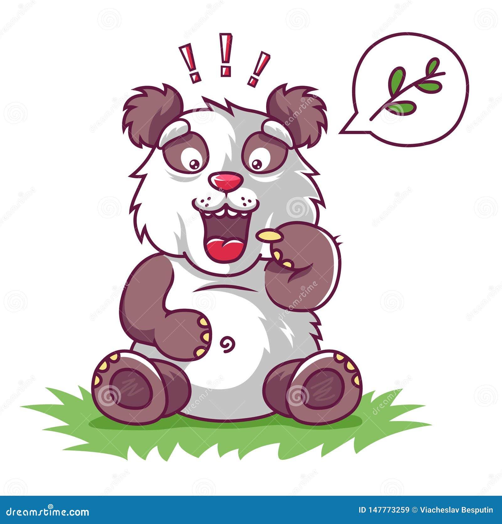 A panda com fome pede para comer