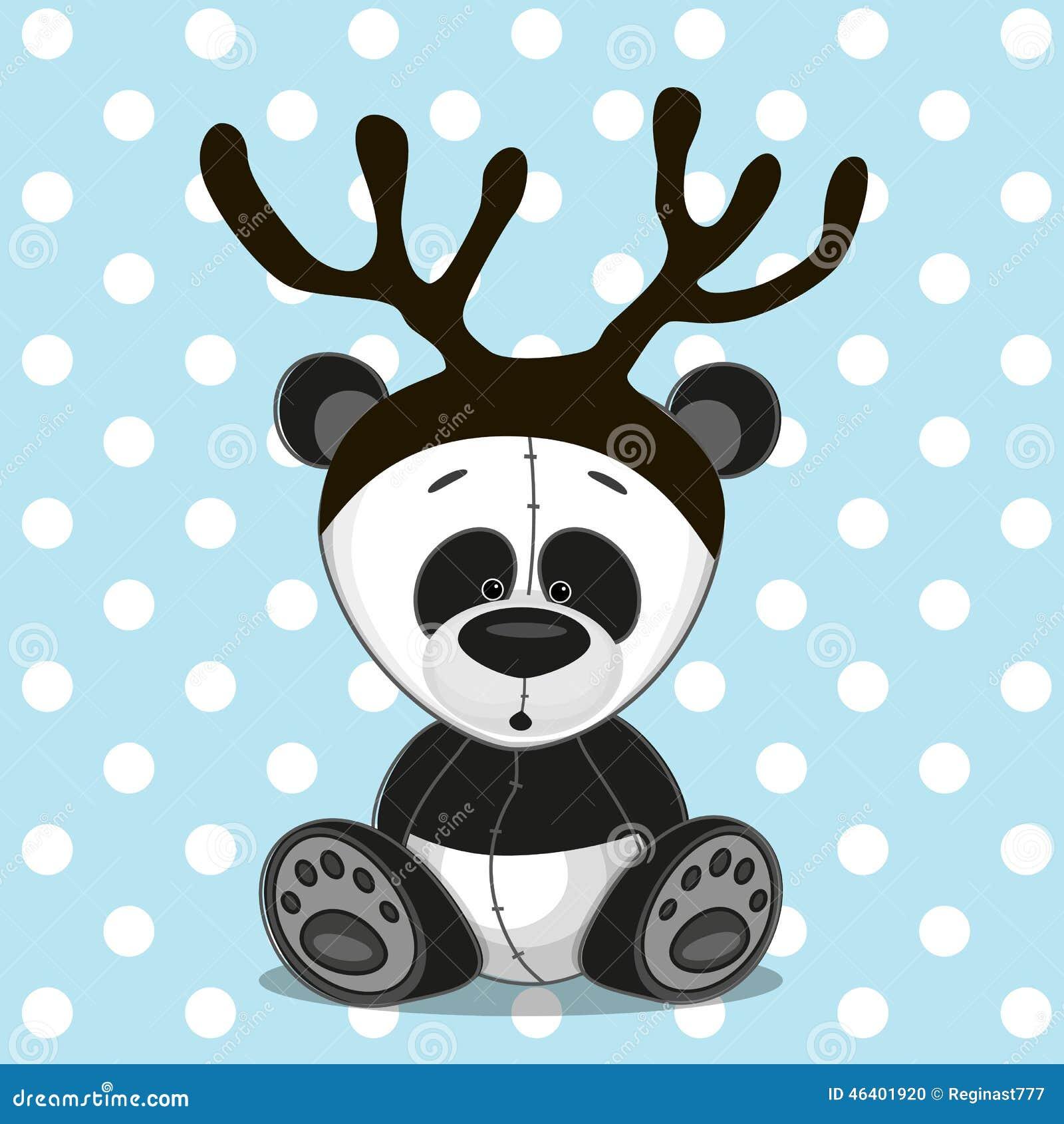 Panda con i corni illustrazione vettoriale. Illustrazione ...