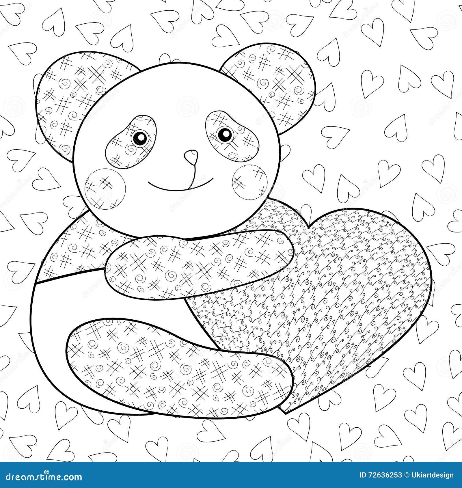 Panda con la pagina del libro da colorare del bambino del cuore illustrazione di stock - Coloriage info panda ...