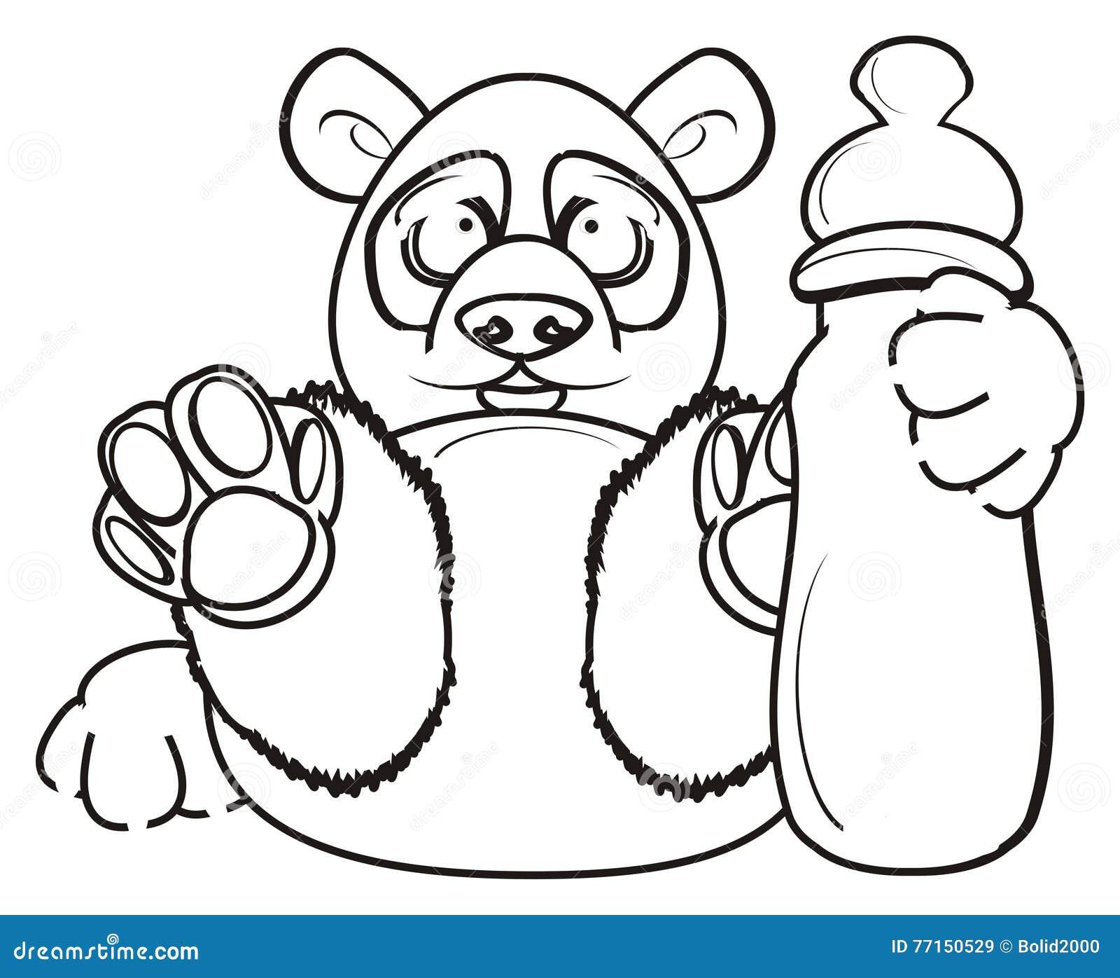 Panda de coloration avec la bouteille de lait