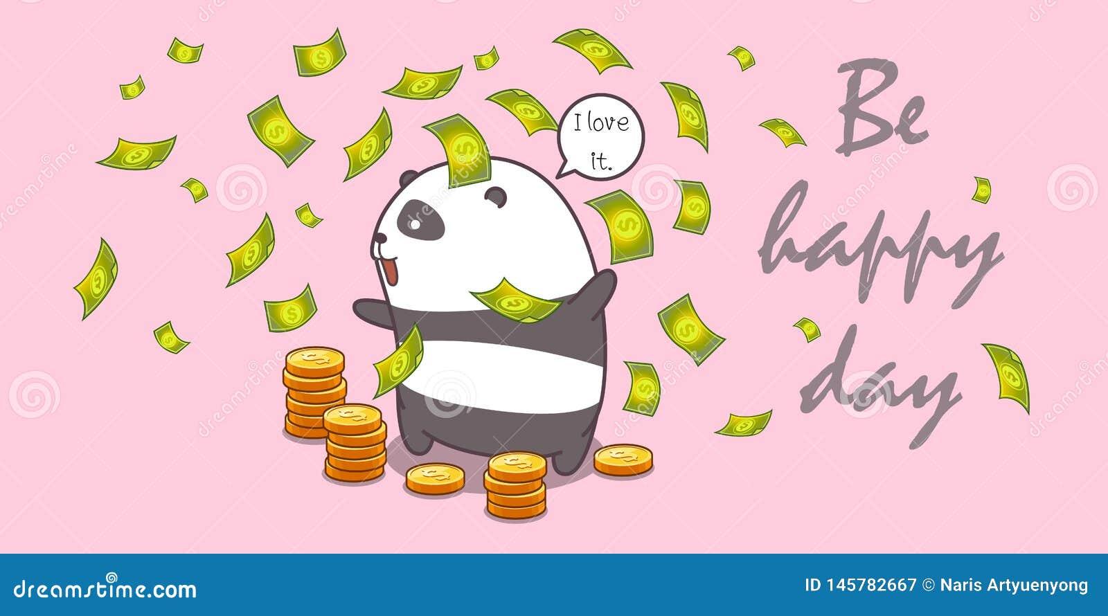 Panda de millionnaire dans le style de bande dessinée