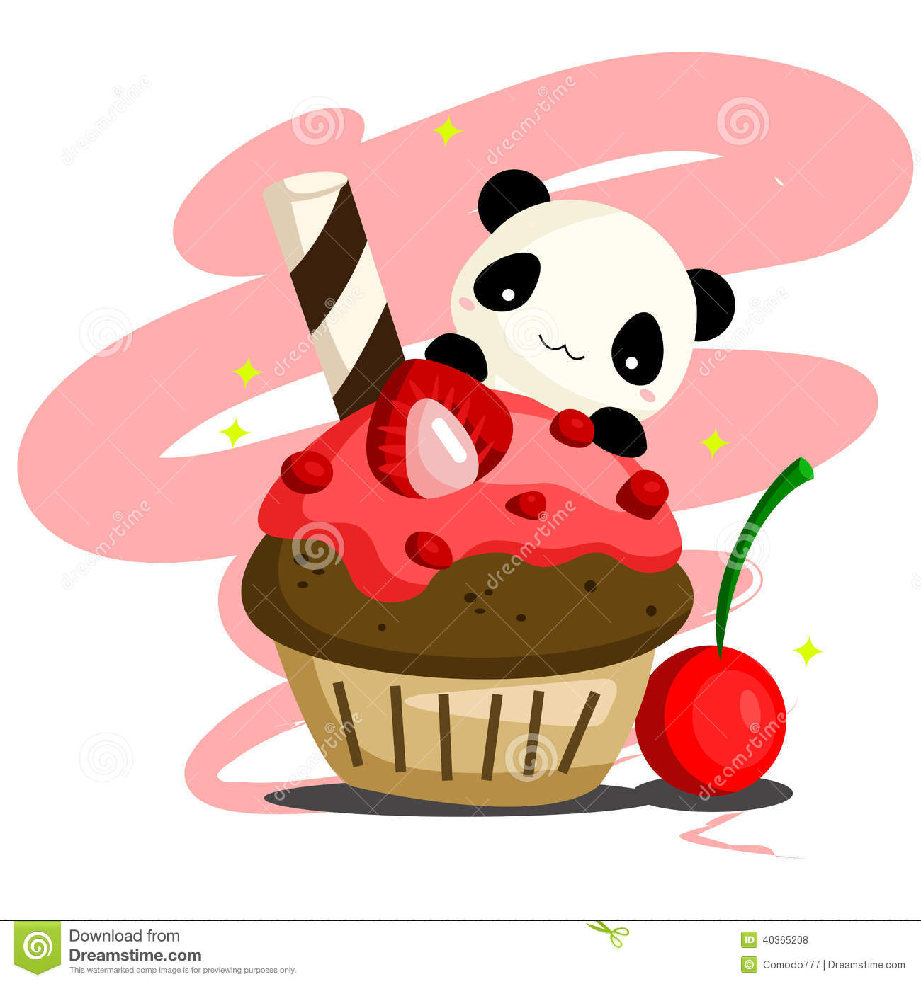 Panda And Dessert Stock Vector Illustration Of Pillow 40365208