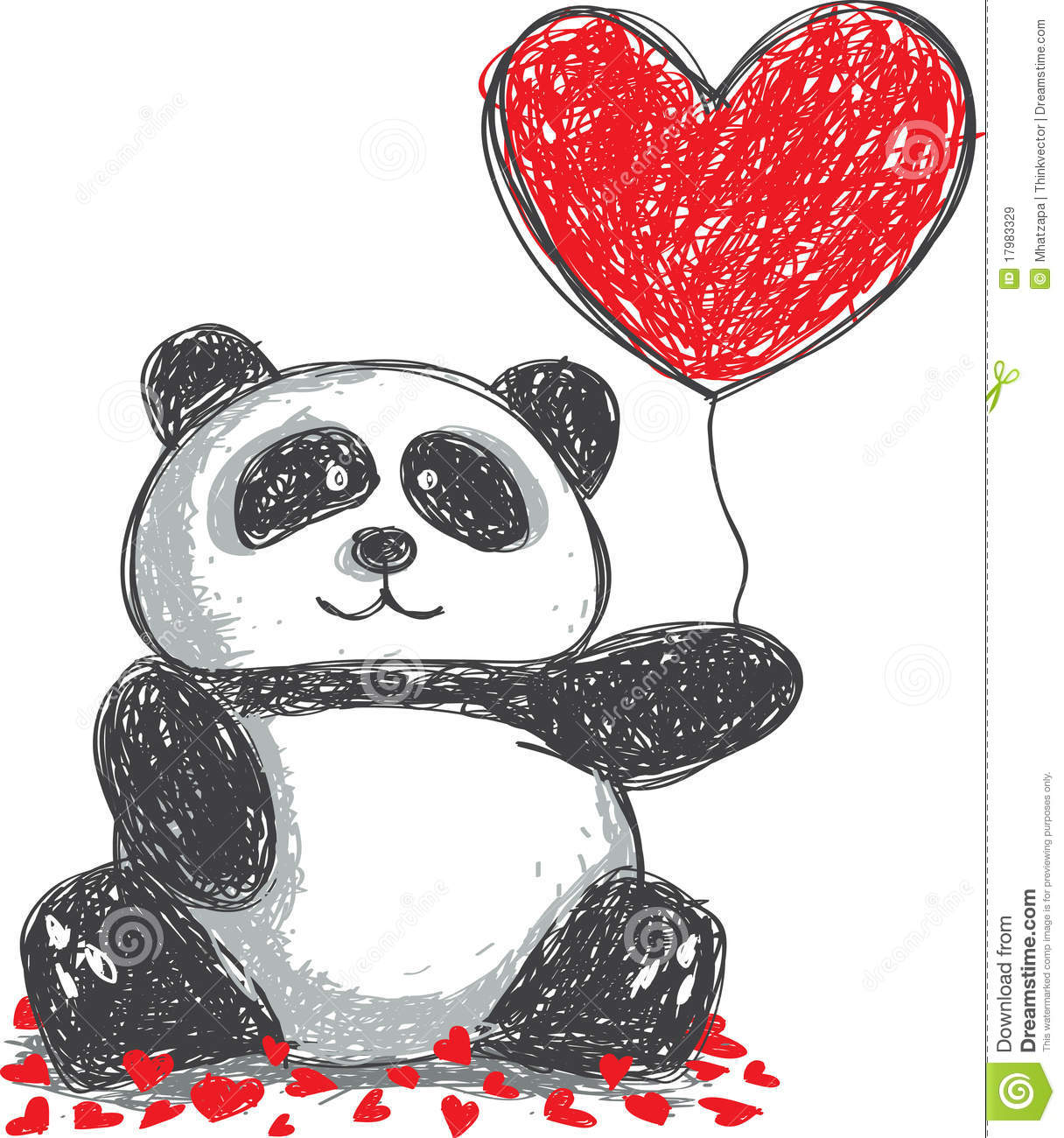 Panda Doodle Stock Vector Illustration Of Drawing
