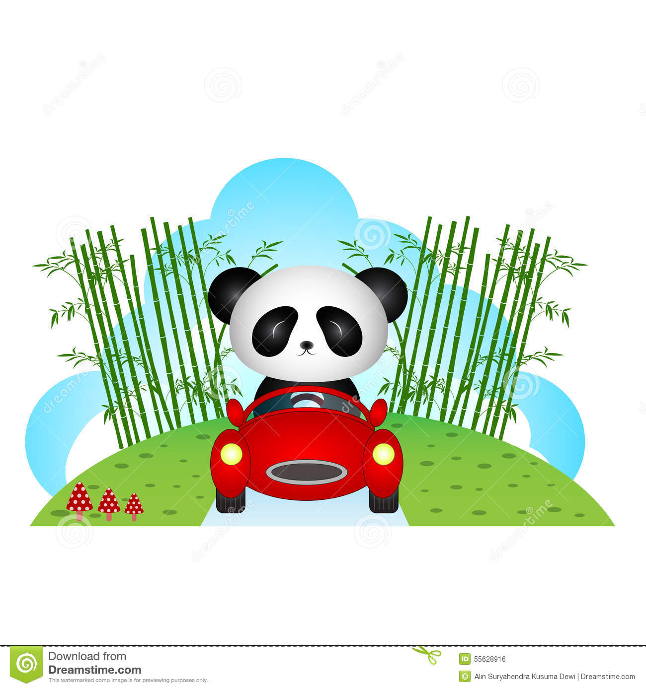 Colour a car - Panda Driving A Car