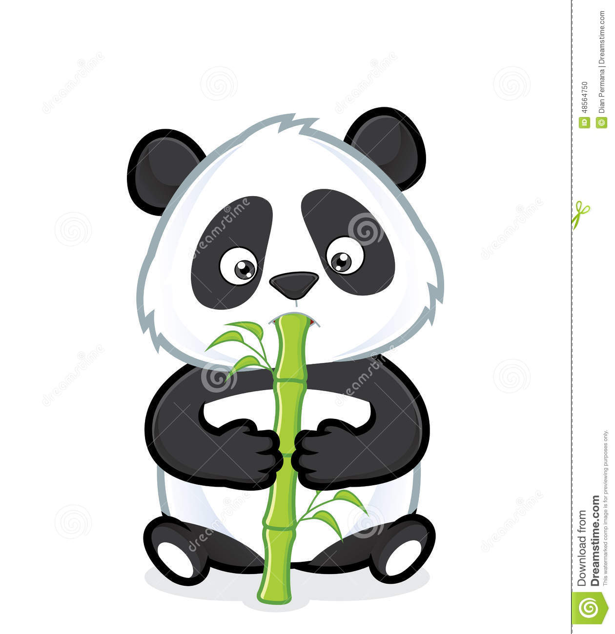 Clipart picture of a panda cartoon character eating bamboo. Zoology Pictures Animals