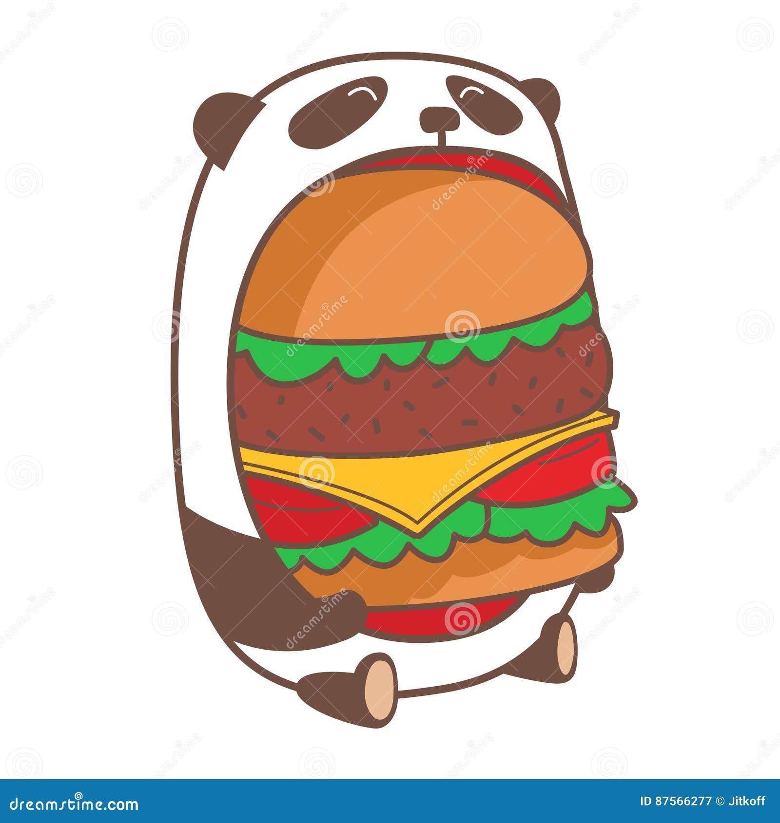 Panda eating huge burger.