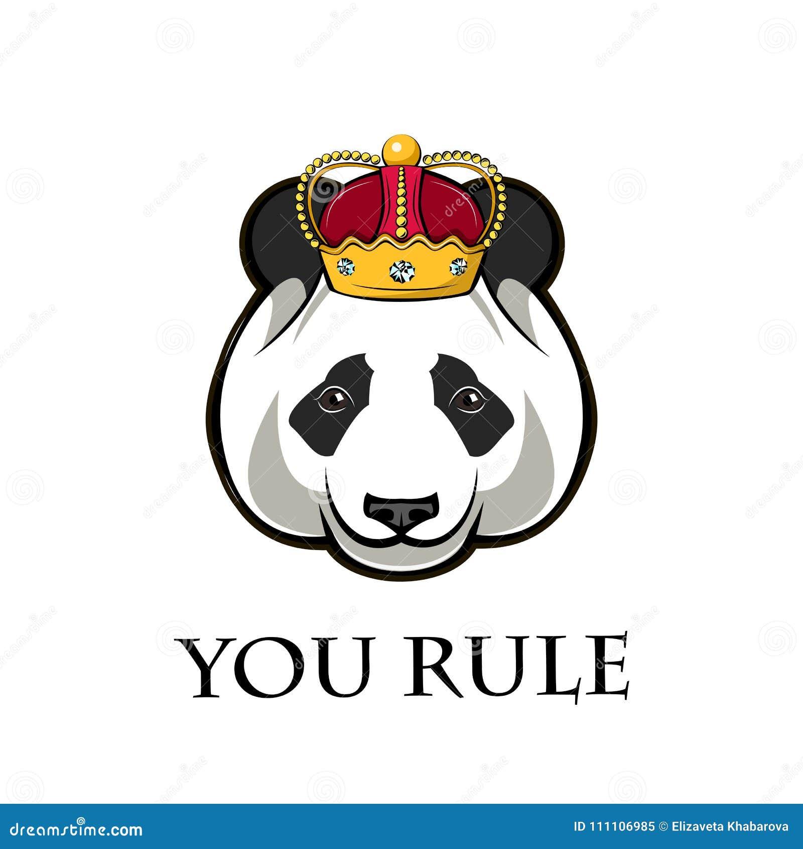 Panda En Corona Ilustración Del Vector Ilustración del Vector ...
