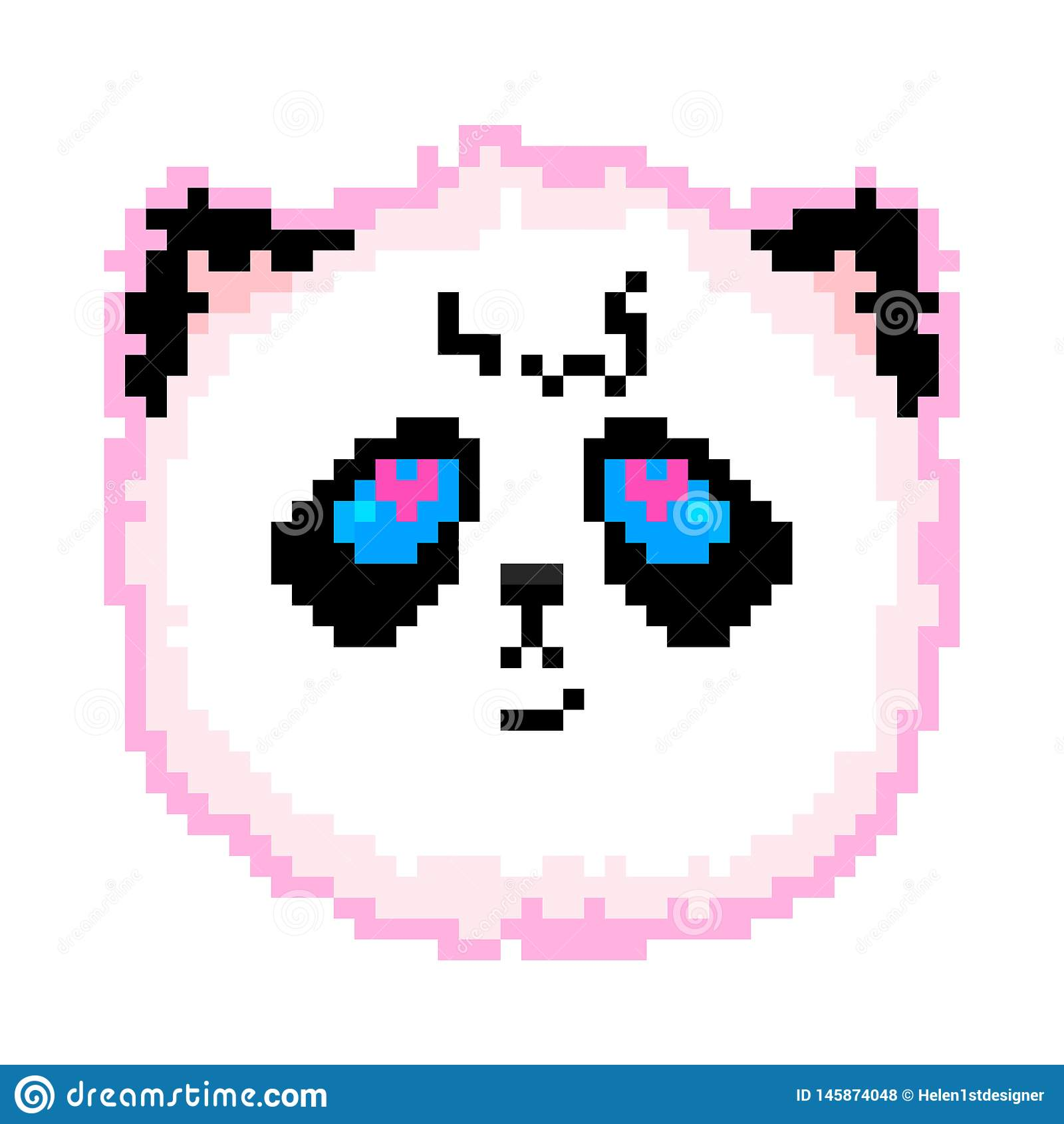 Panda Face Kawaii Vector Illustration Pixer Art Stock