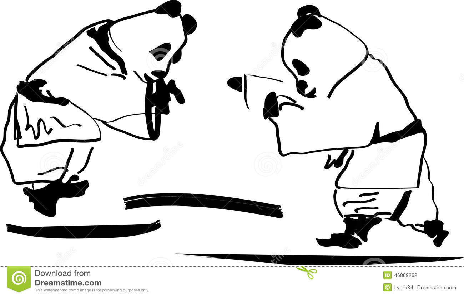 Panda Fight панда борьба Stock Vector - Image: 46809262
