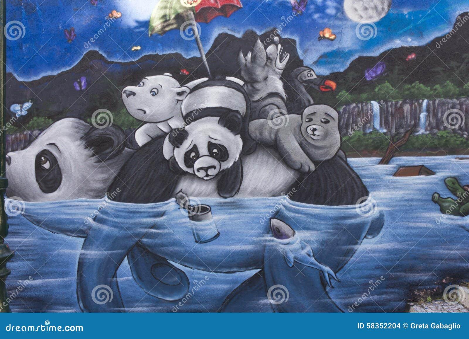 Panda Wall Mural Panda Graffiti In Lisbon Editorial Stock Image Image