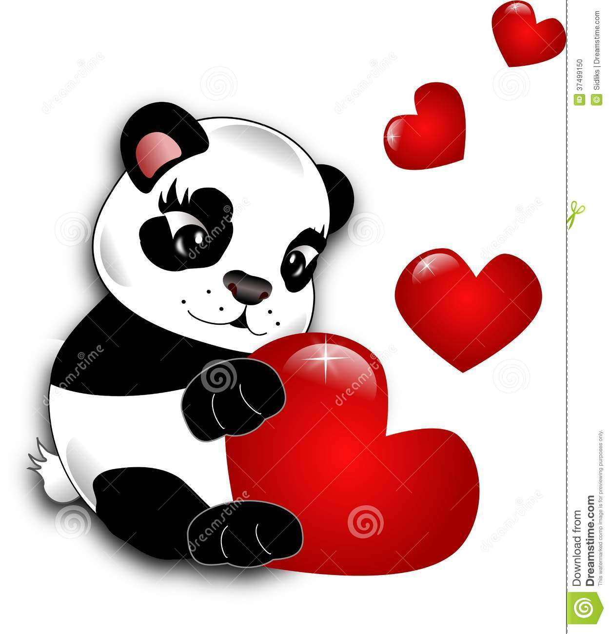 Small cute panda holding big red heart decorated with small hearts.