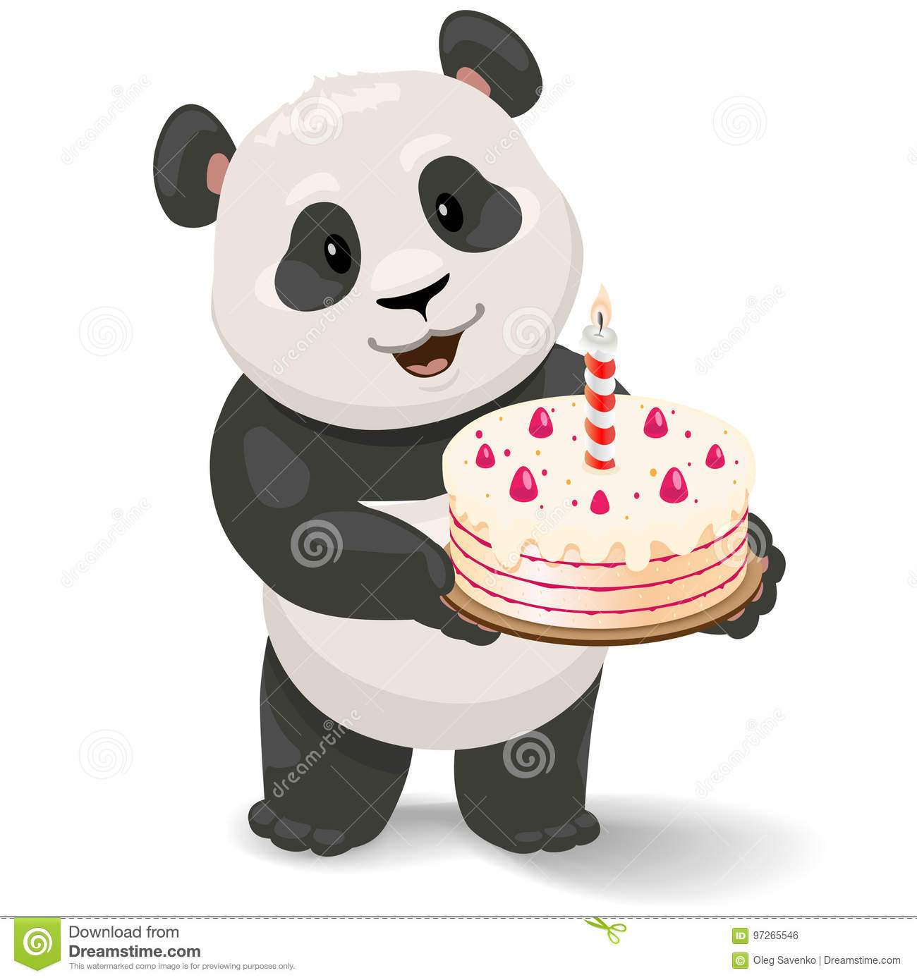 Panda Holding Birthday Cake Vector Clip Art Illustration With Simple Gradients