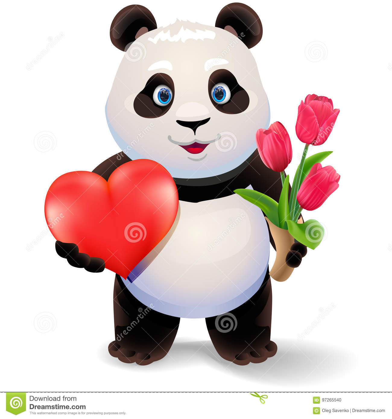 Panda Holding Heart And Tulips. Valentine`s Day Vector ...