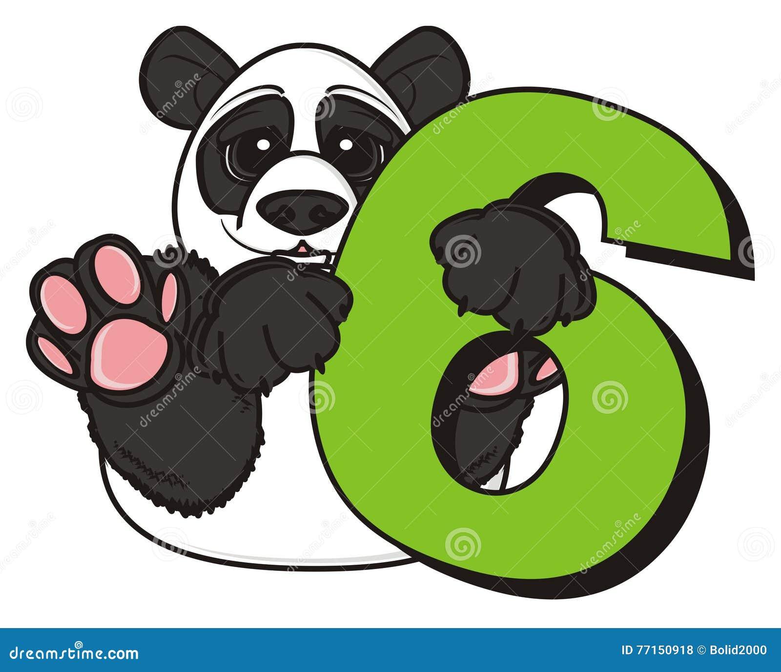 Panda huging un numéro six