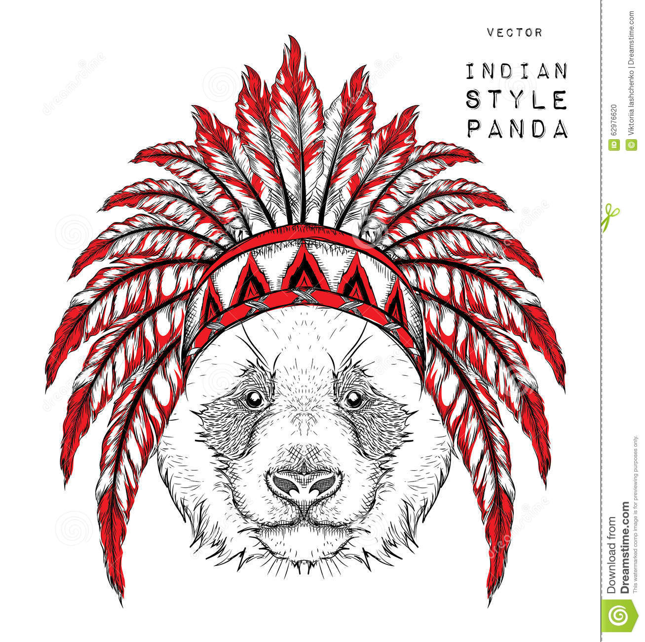 Panda In The Indian Roach  Indian Feather Headdress Of Eagle  Hand