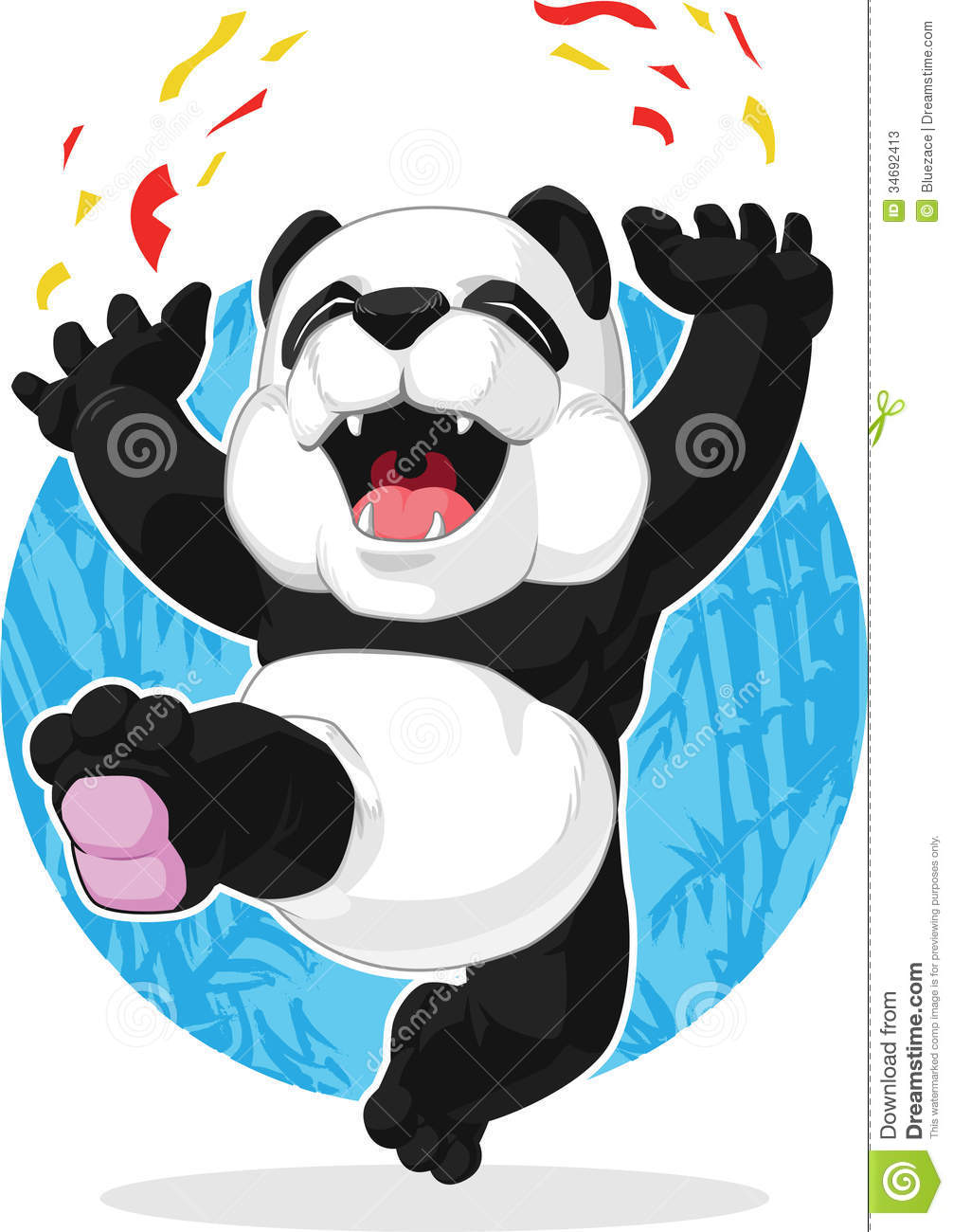 Panda Jumping In Excitement Stock Photos Image 34692413