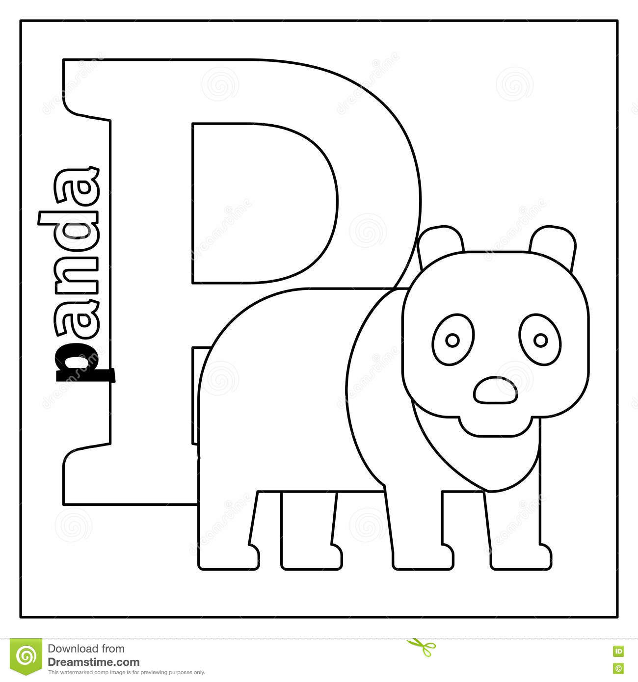 Panda, Letter P Coloring Page Stock Vector - Illustration of cartoon ...