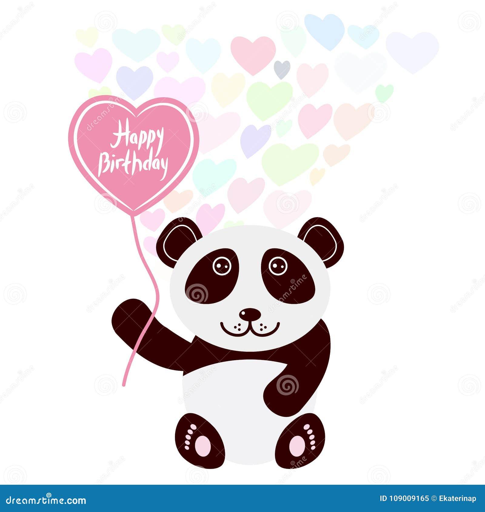 Panda Linda Del Kawaii Del Diseno De Tarjeta Del Feliz Cumpleanos