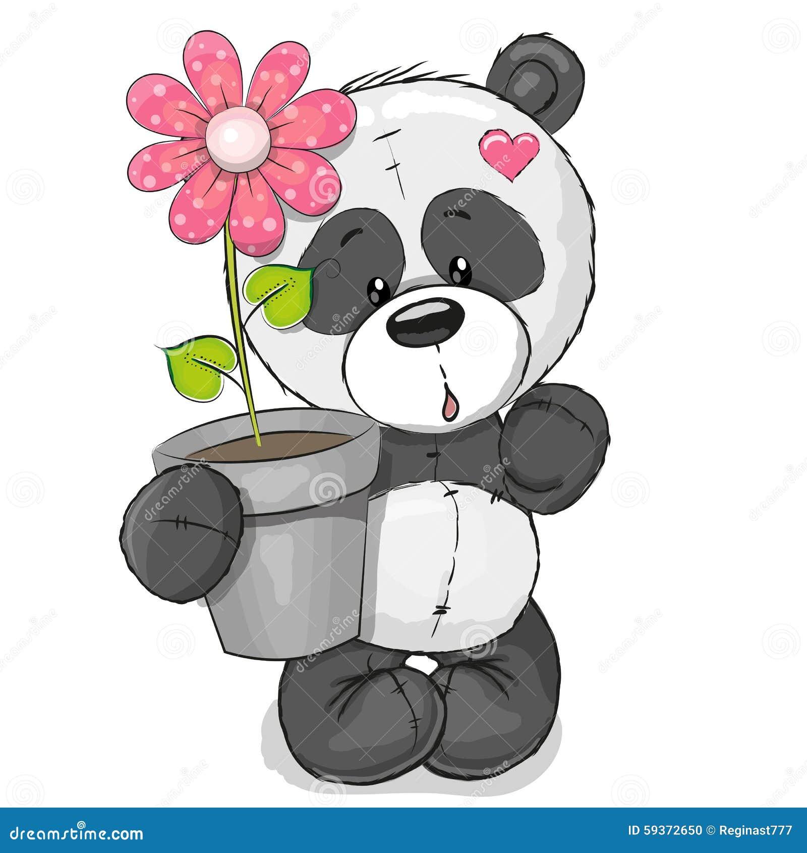 Panda met bloem