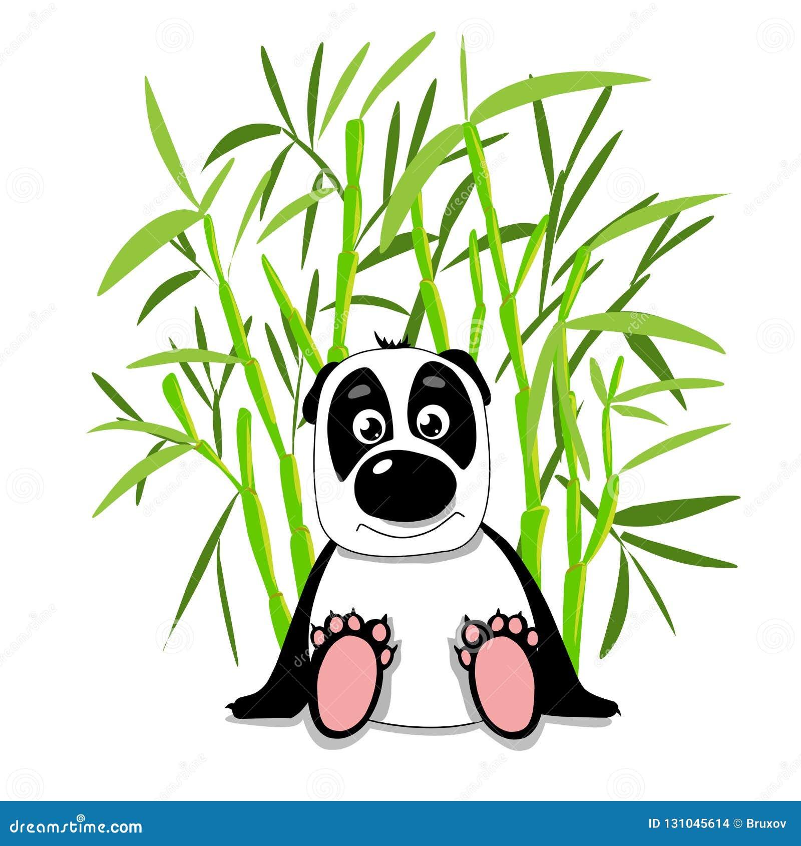 Panda mignon d illustration d actions dans la forêt en bambou