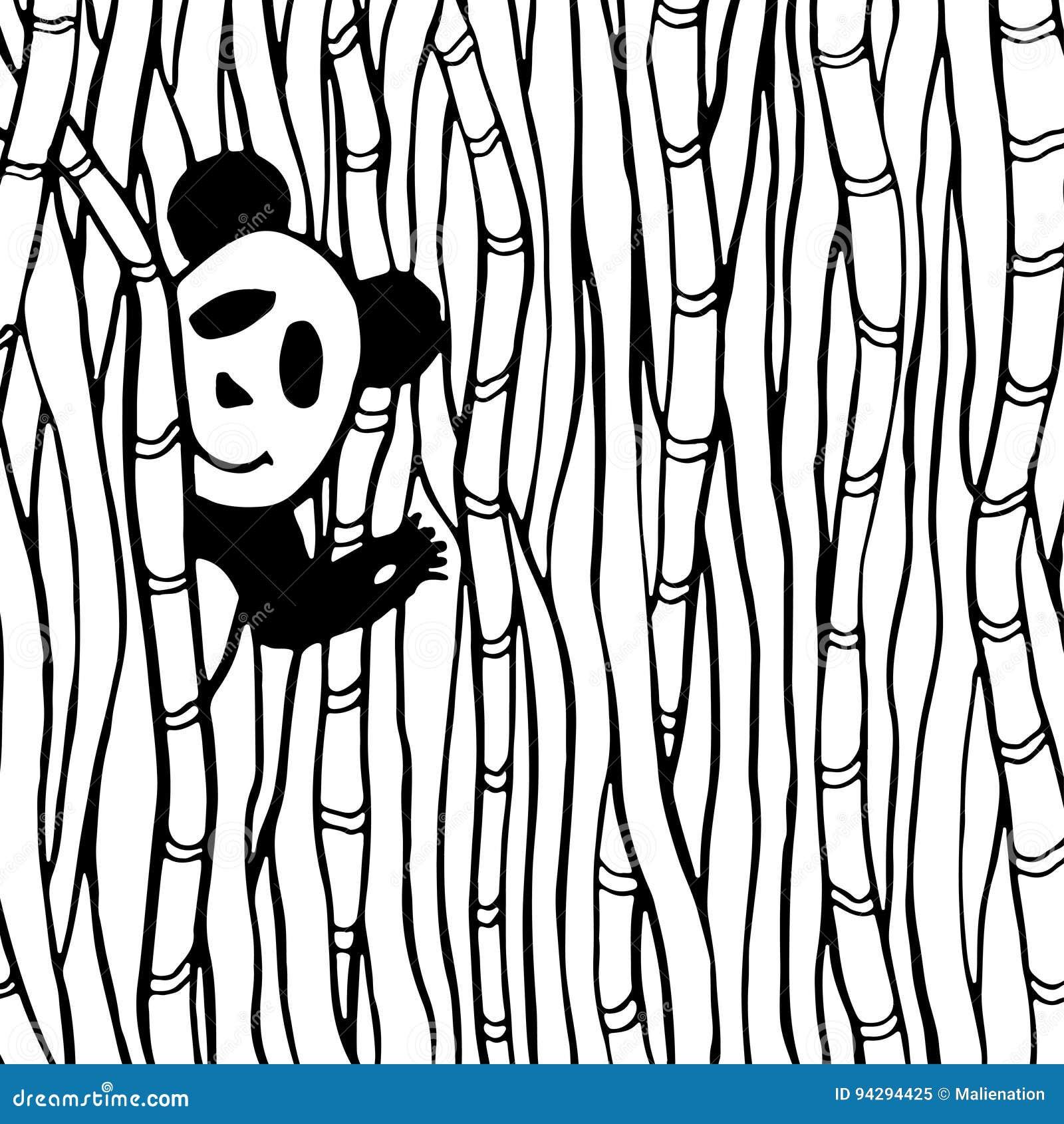 Coloriage Foret De Bambou.Panda Mignon Dans La Page En Bambou De Livre De Coloriage De Foret