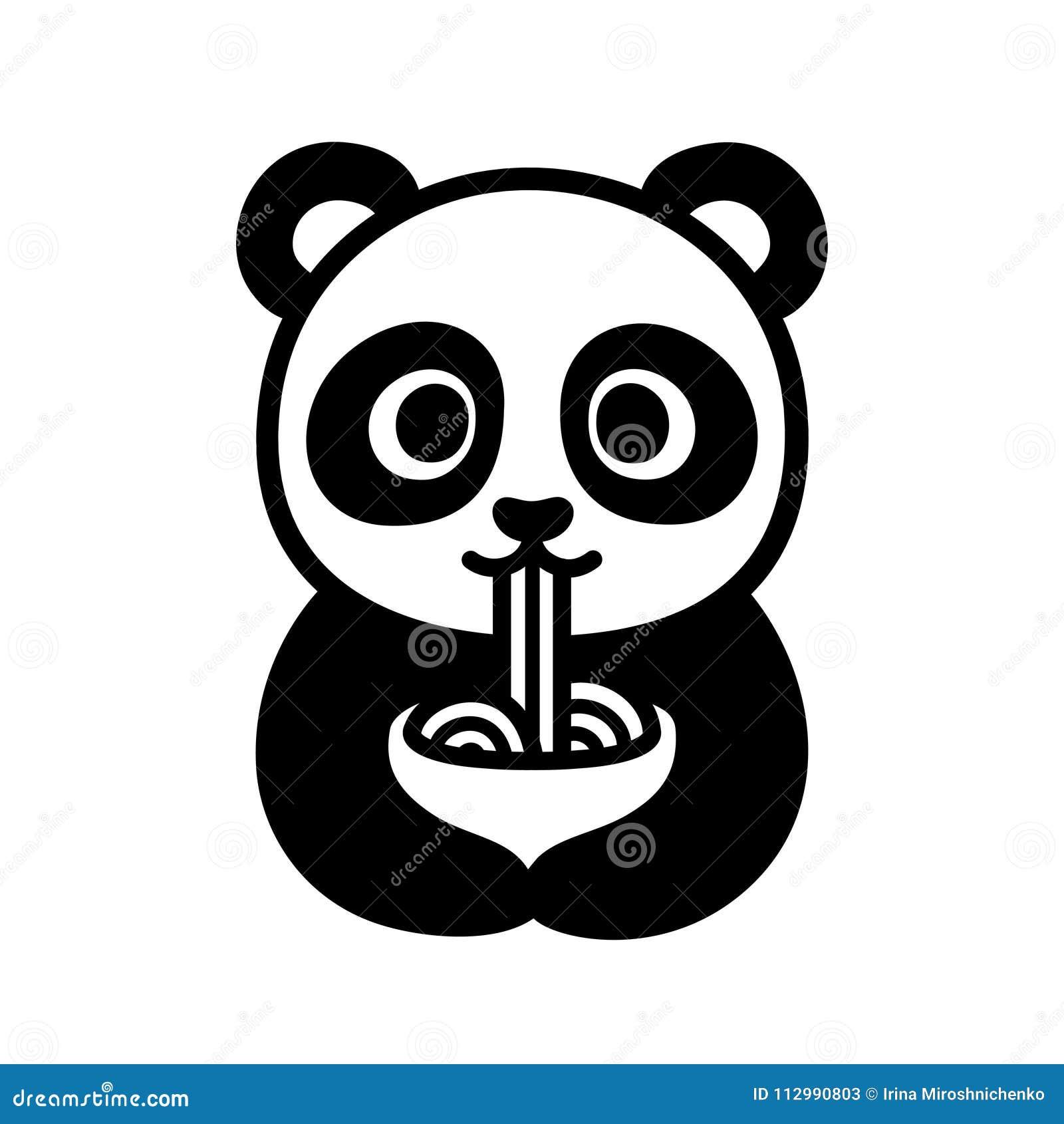 Panda Mignon Mangeant Des Nouilles Illustration De Vecteur