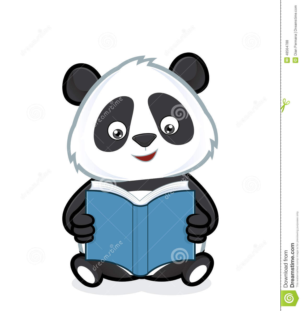 Clipart picture of a panda cartoon character reading a book.