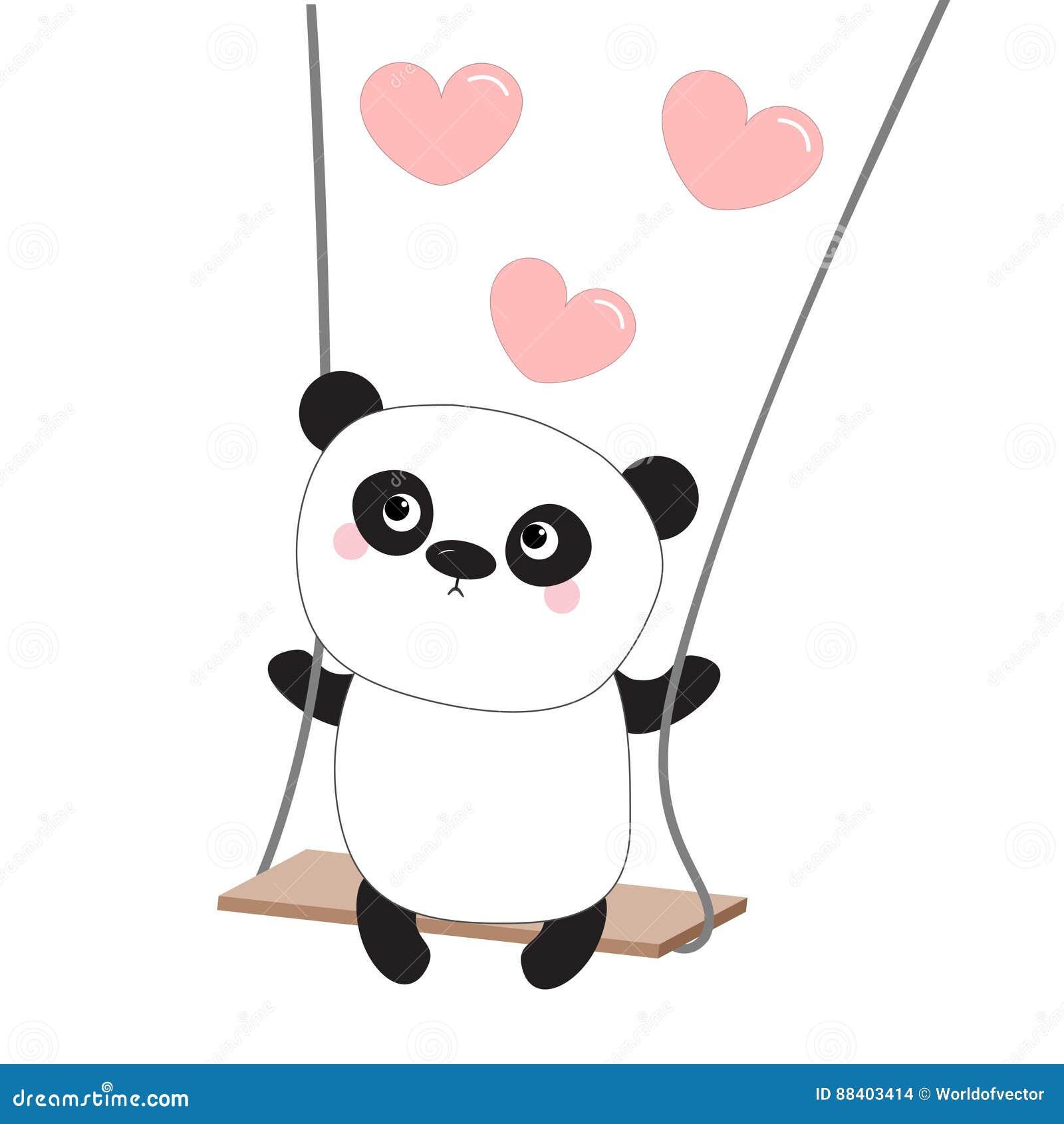 Panda ride on the swing pink flying hearts happy valentines day pink flying hearts happy valentines day symbol cute fat cartoon character kawaii baby collection love biocorpaavc