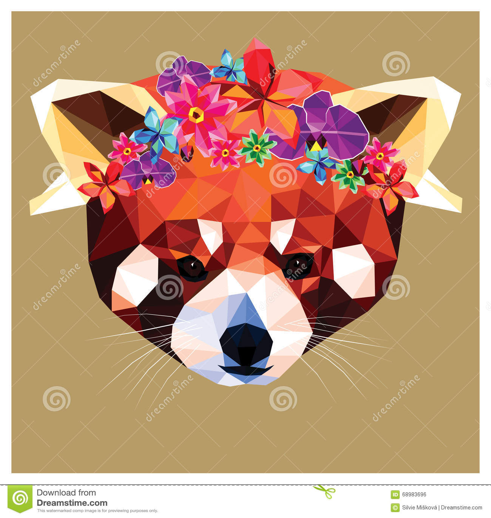 Panda roja con la corona floral
