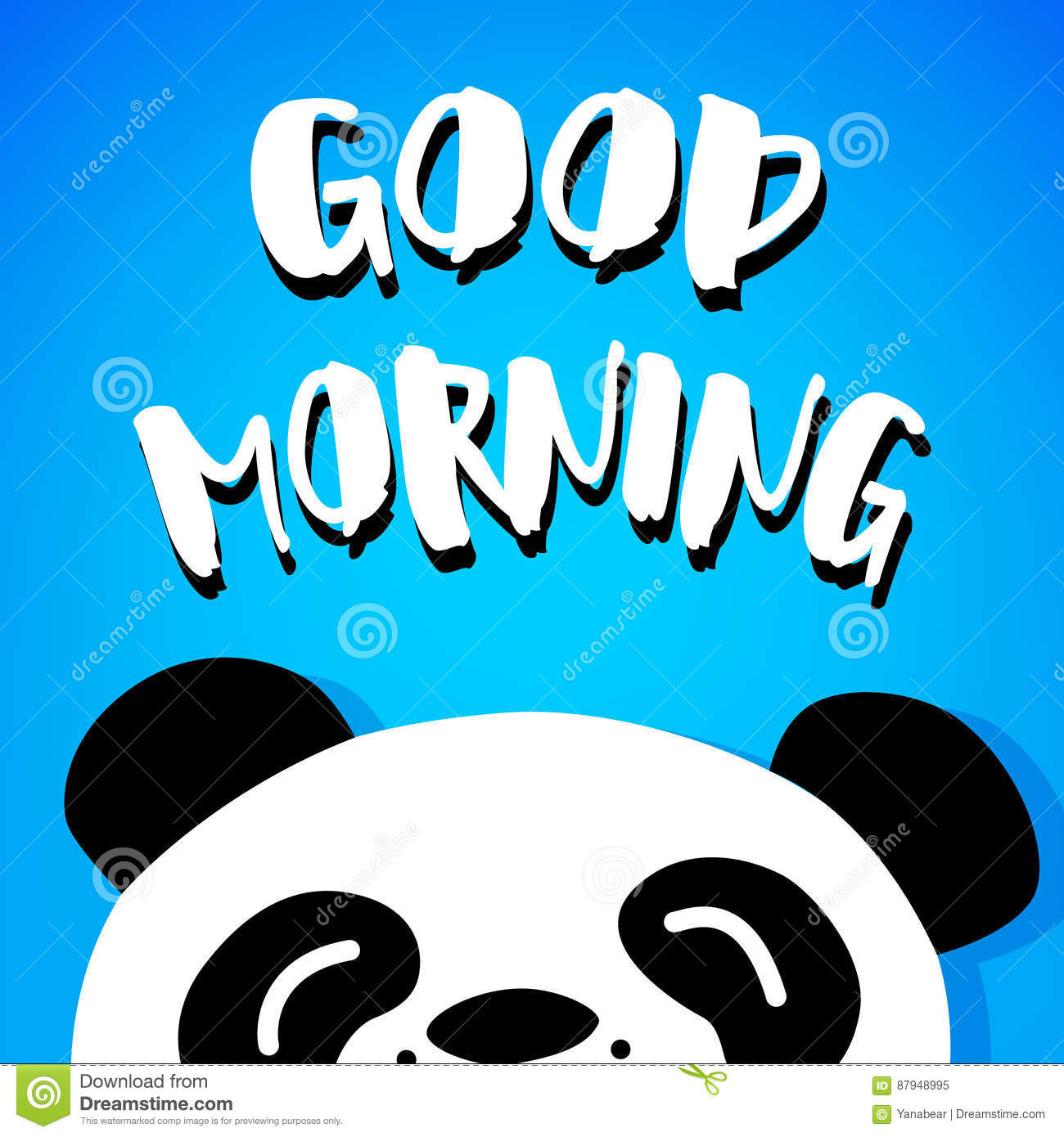Panda Says Good Morning Vector Cartoon Bear On Blue Background