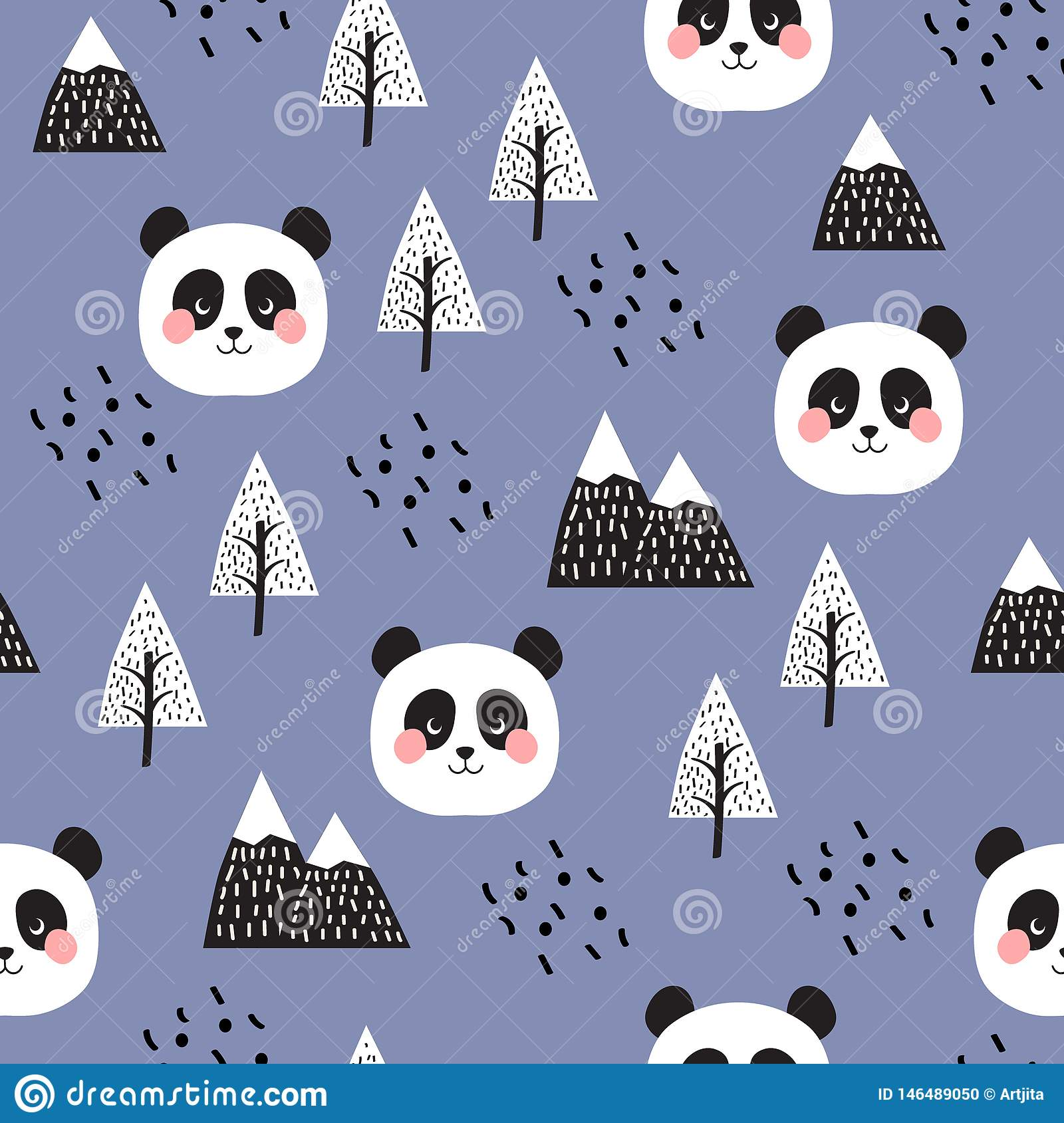 Panda Seamless Pattern Background