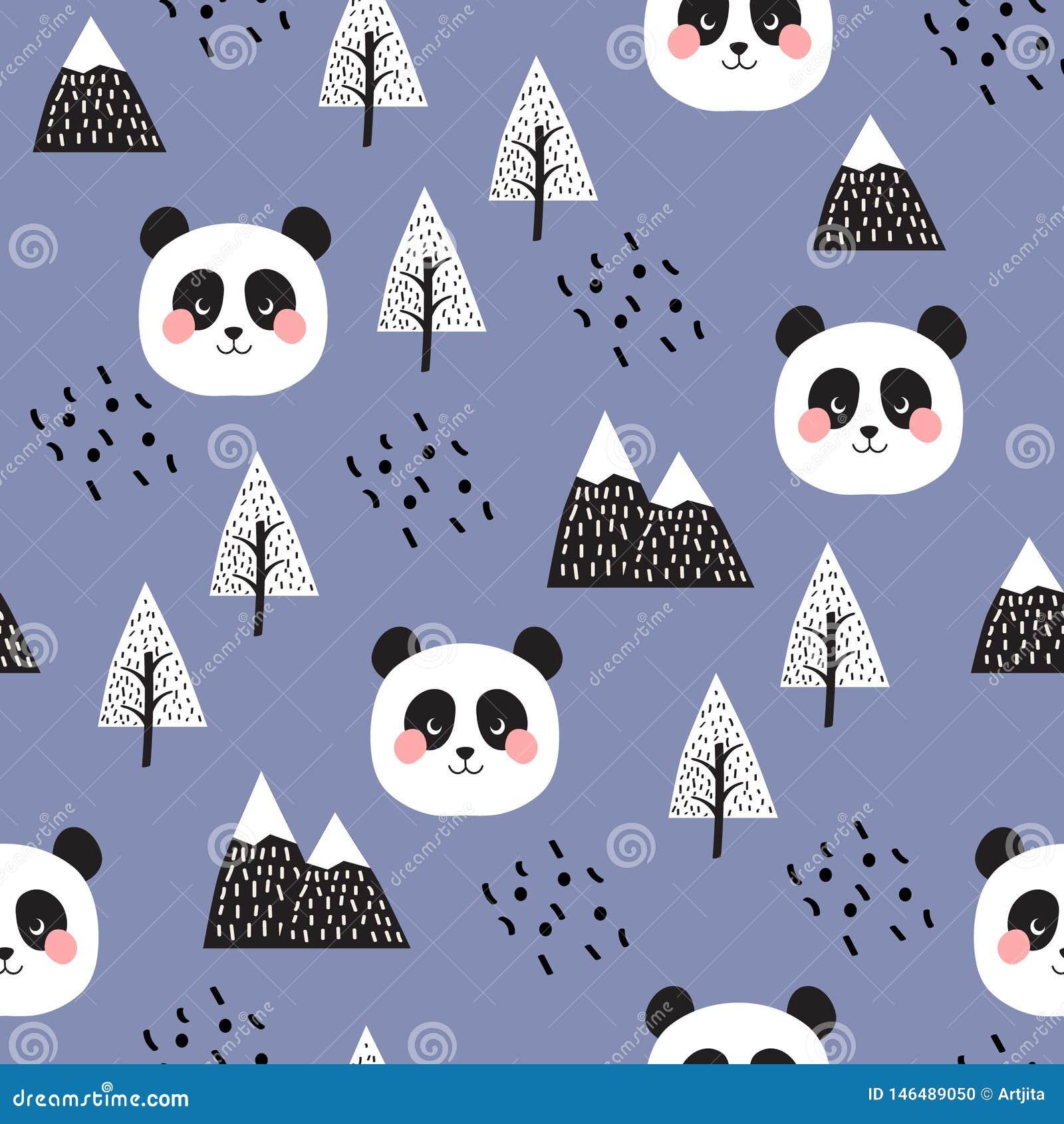 Panda Seamless Pattern Background