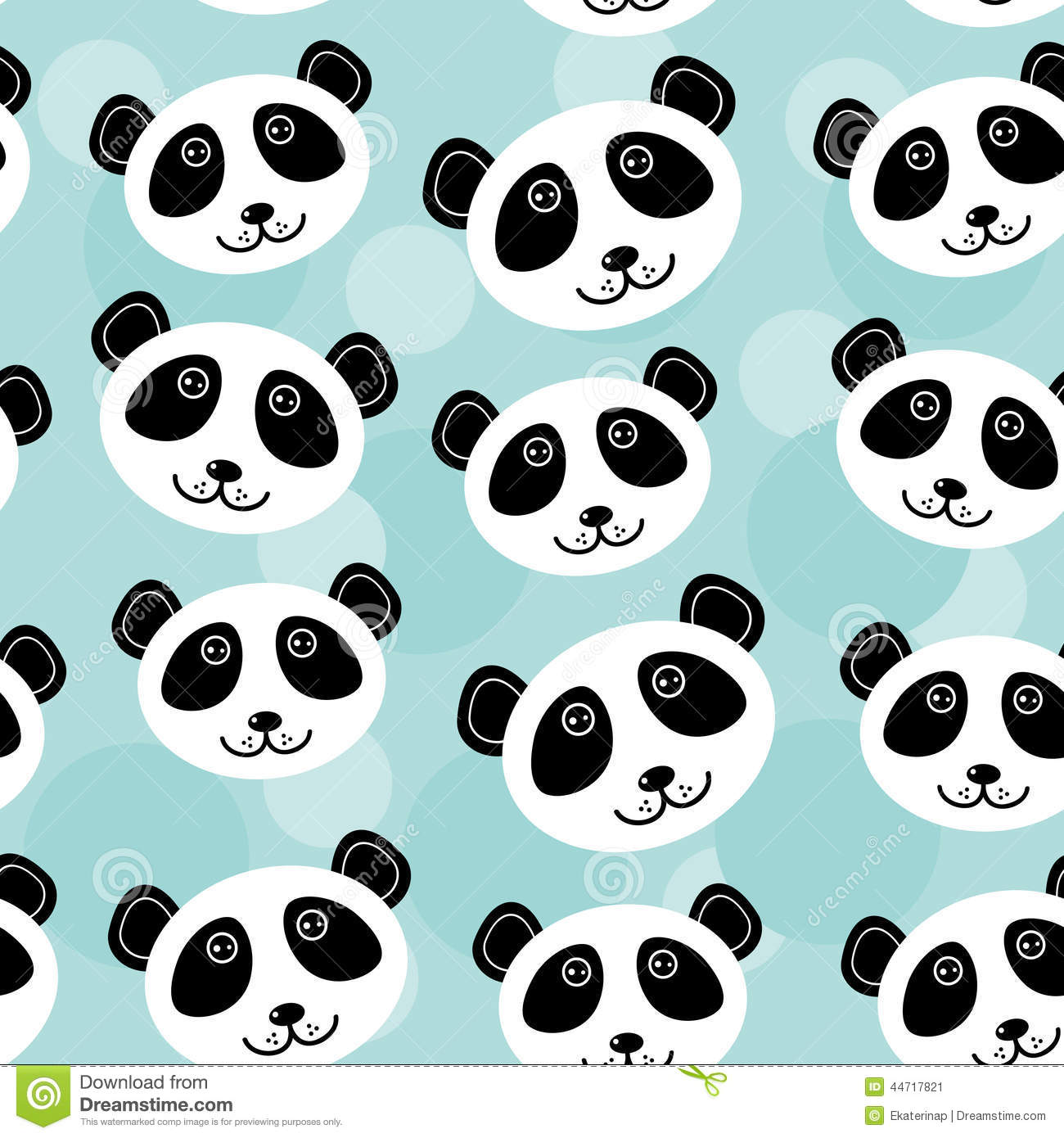Panda Seamless Pattern With Funny Cute Animal Face On A