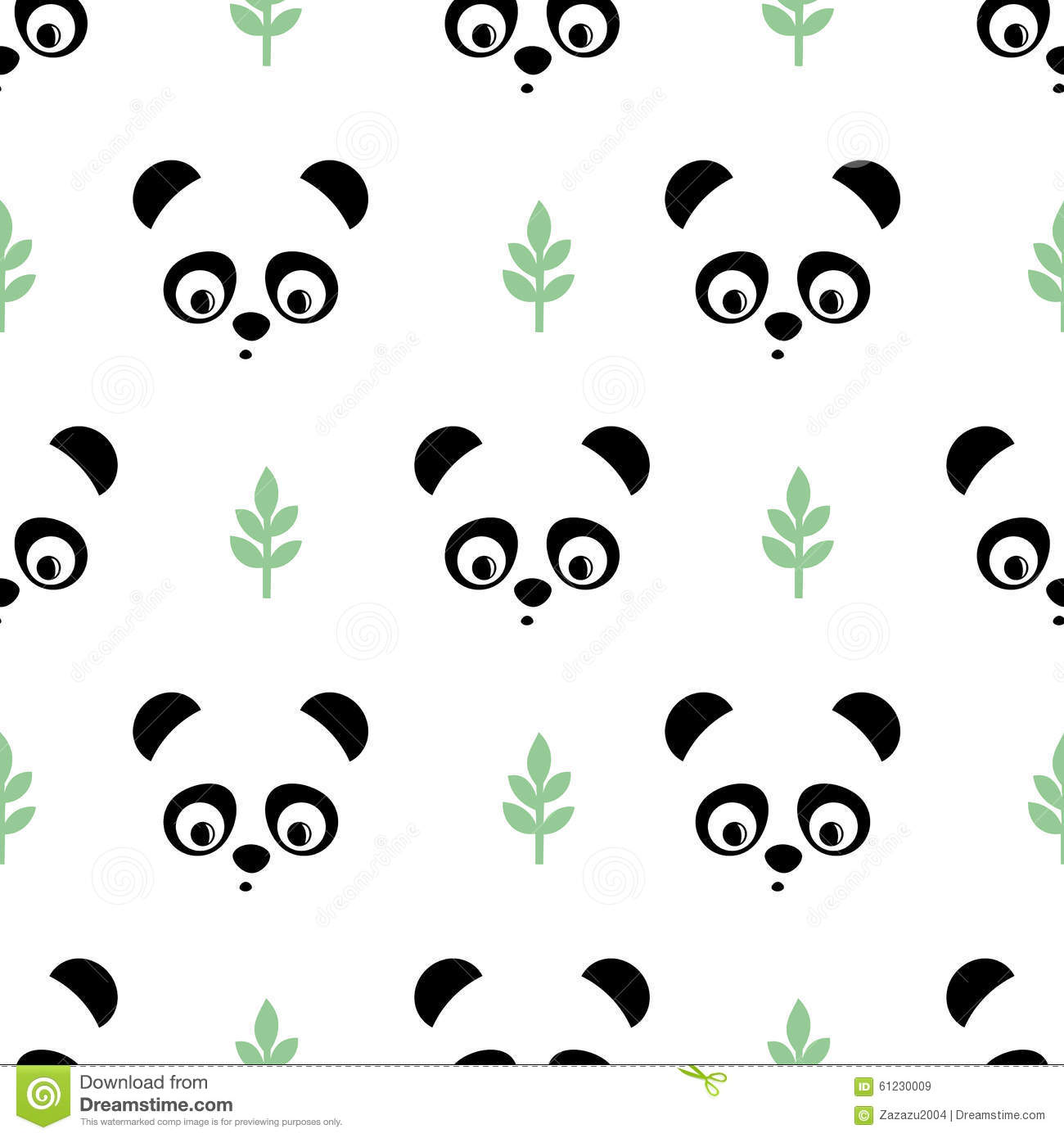 Panda Seamless Pattern With Green Twigs Cute Vector Background Baby Animal Stock