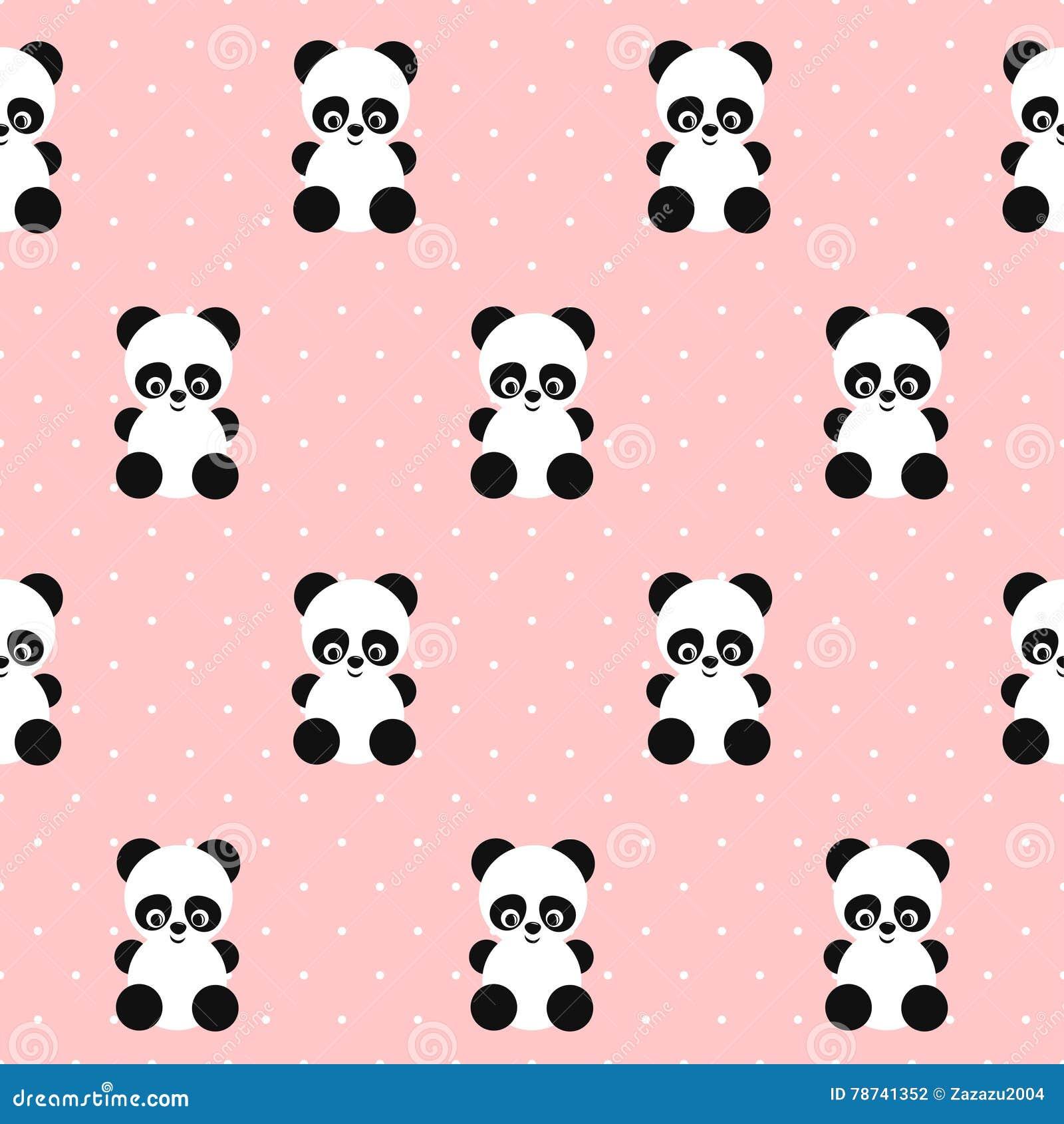 Panda Seamless Pattern On Polka Dots Pink Background ...