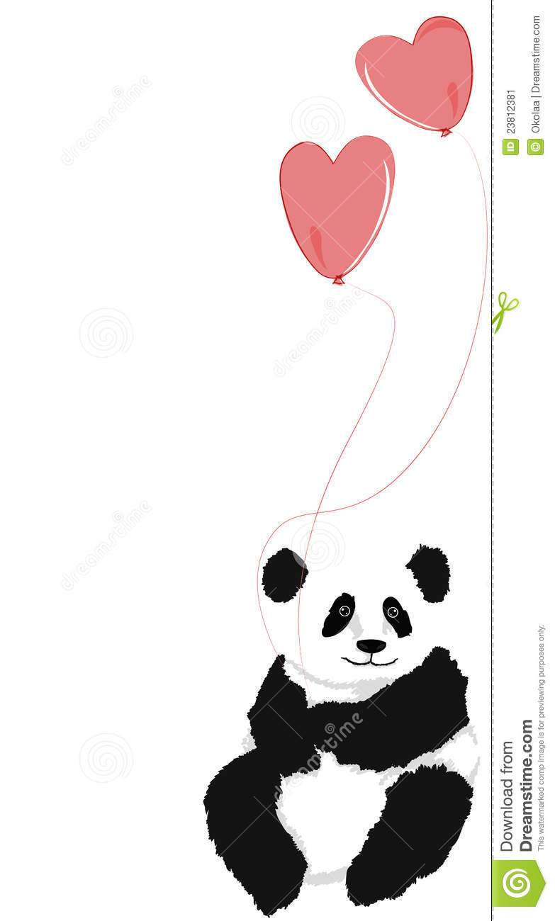 Panda Sitting With 2 Heart Balloons Stock Image Image
