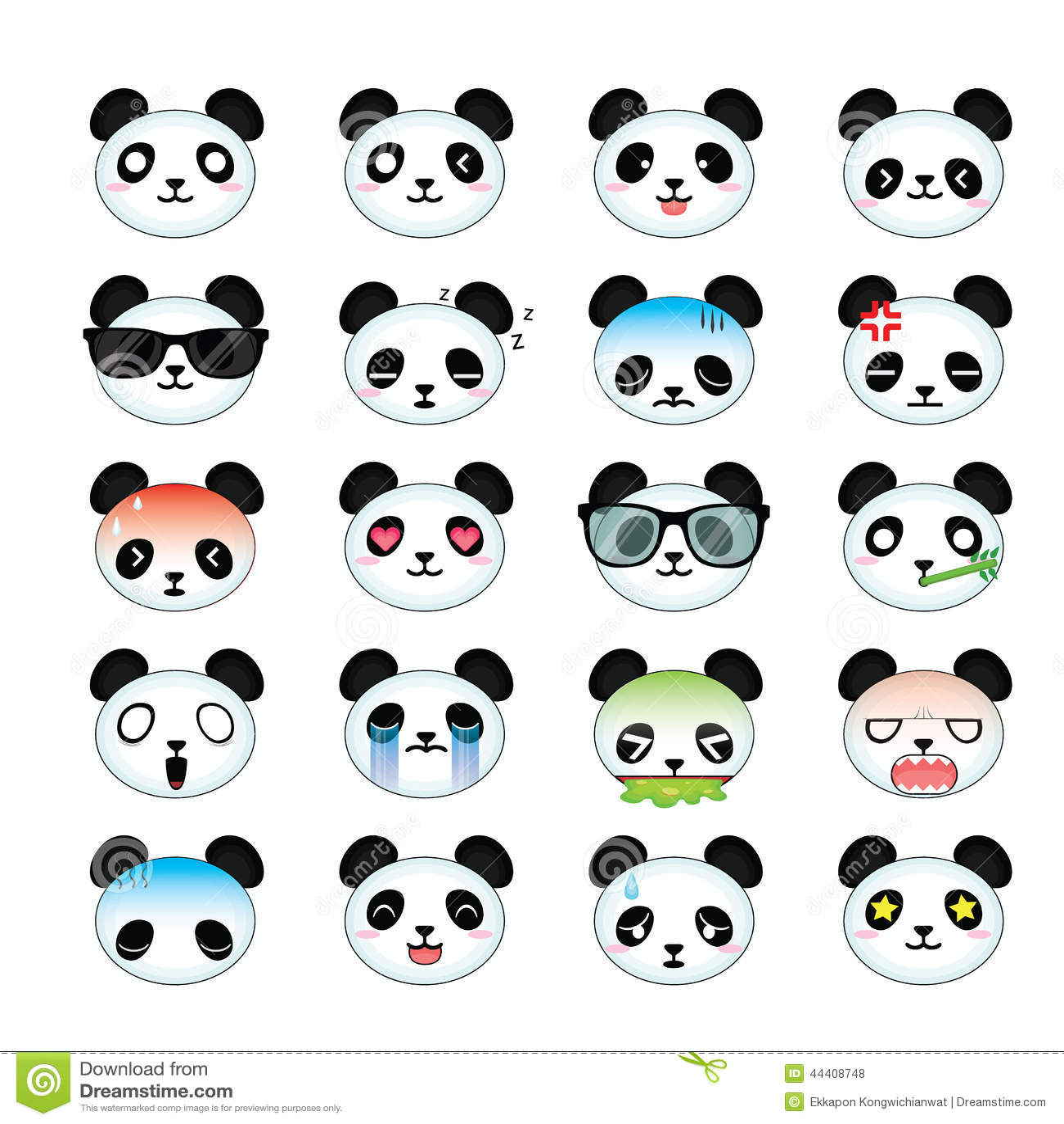 Panda Smiley Face Icons Set Stock Illustration Image
