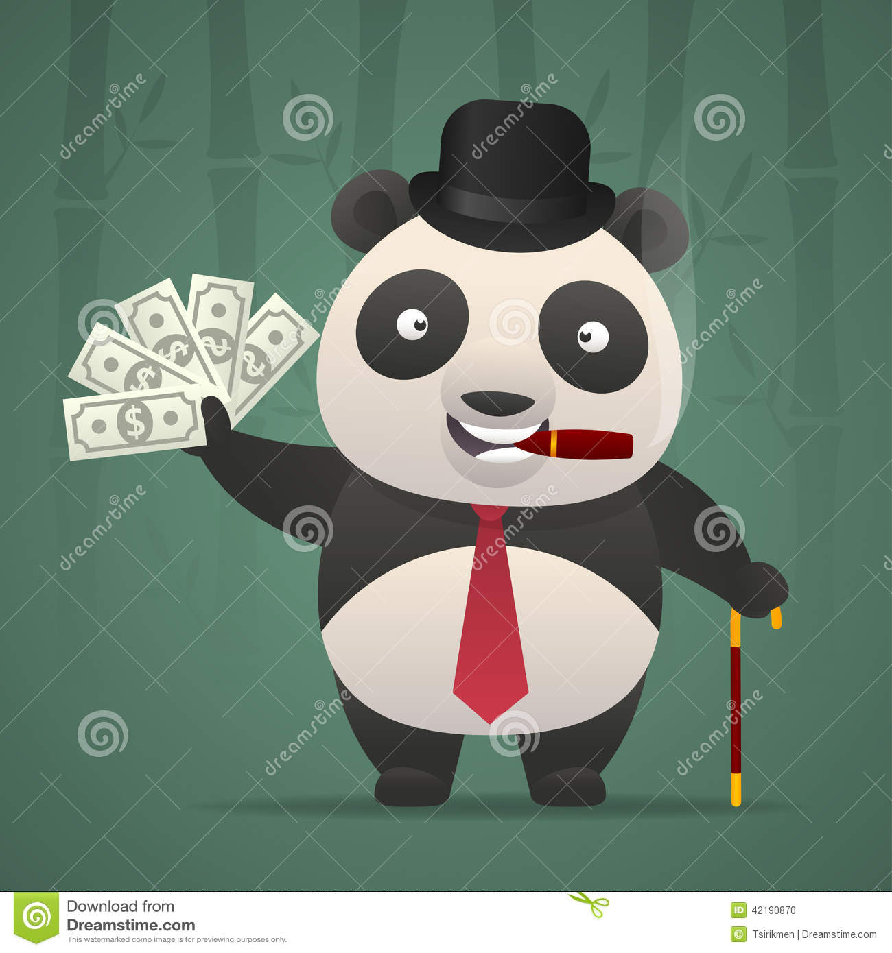 Panda Smoking Cigar And Holds Money Stock Vector - Image: 42190870