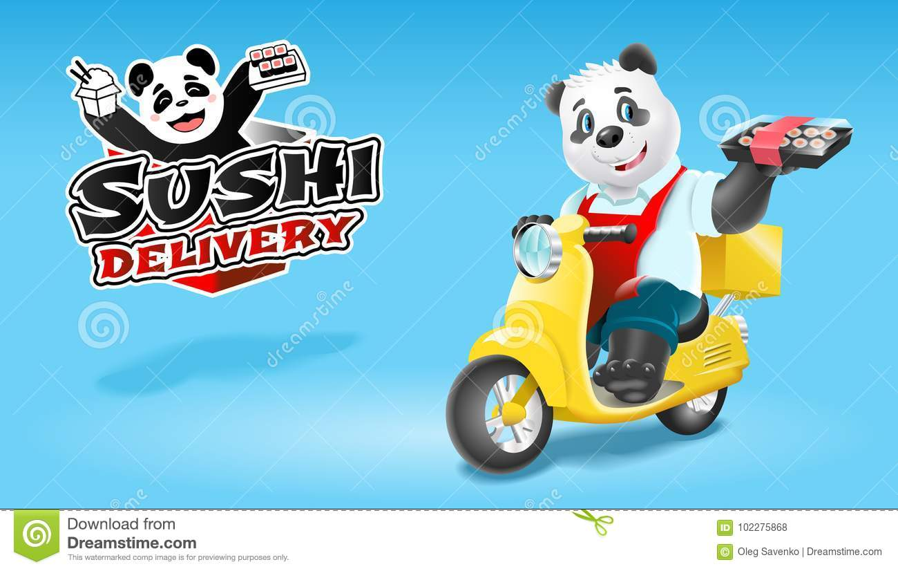 Panda sushi delivery on scooter. Vector clip art illustration