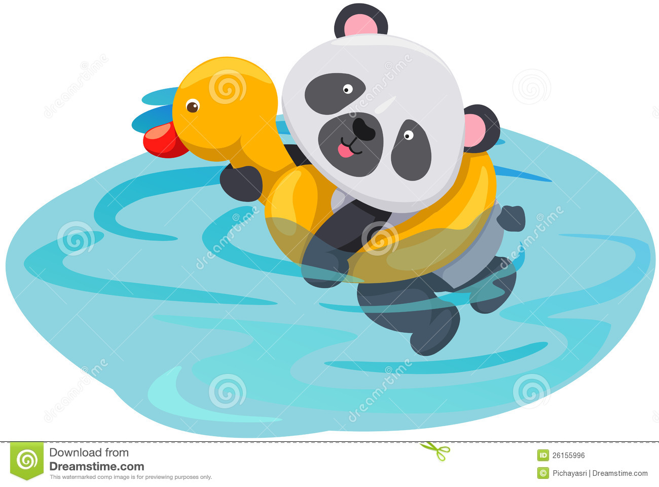 Panda Swimming With Duck Tube Royalty Free Stock Image ...