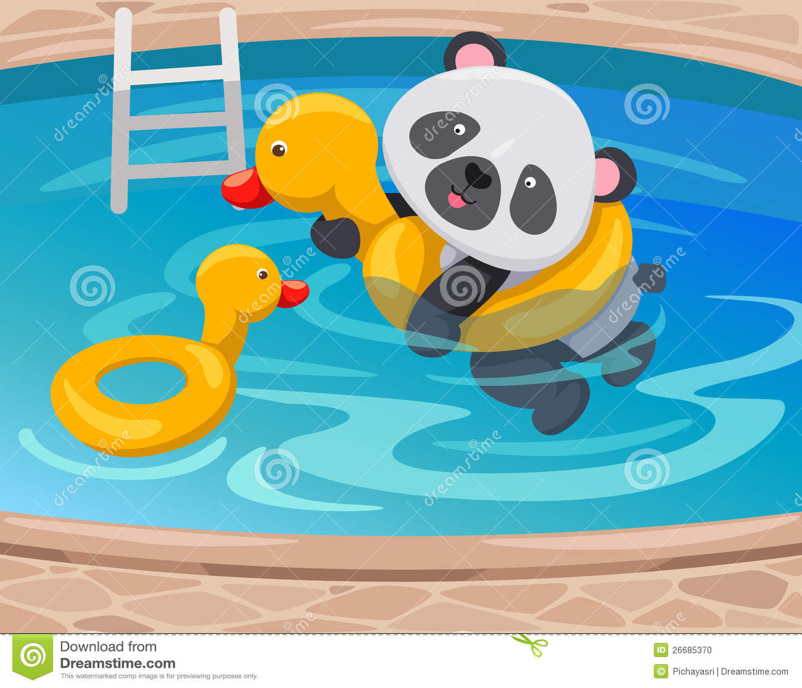 Panda Swimming With Duck Tube Stock Photo Image 26685370