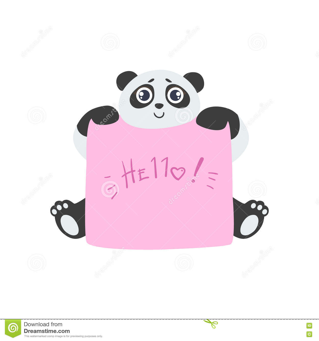 panda with the template for the message stock vector illustration