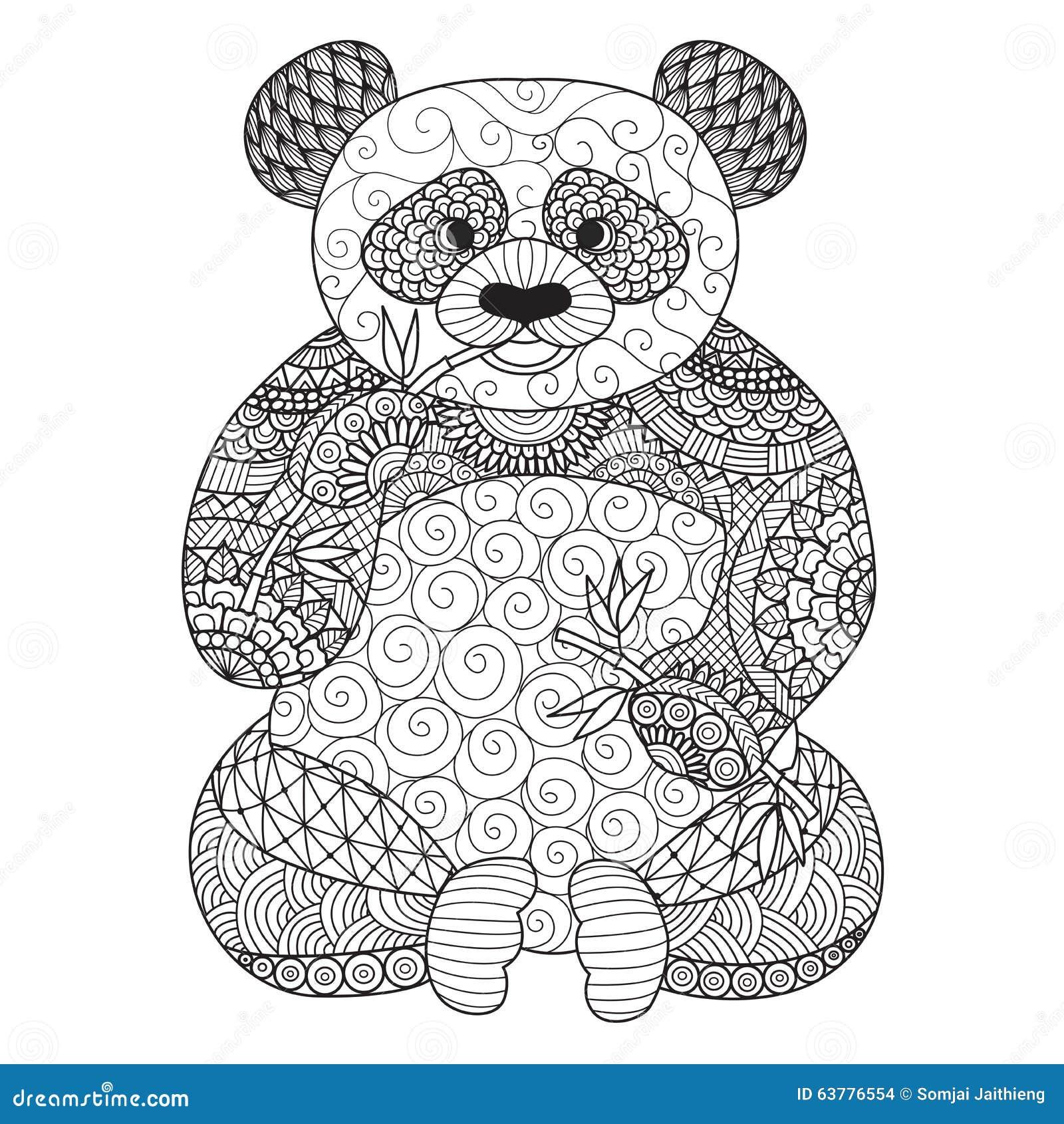 Panda Tir Par La Main De Zentangle Pour Livre