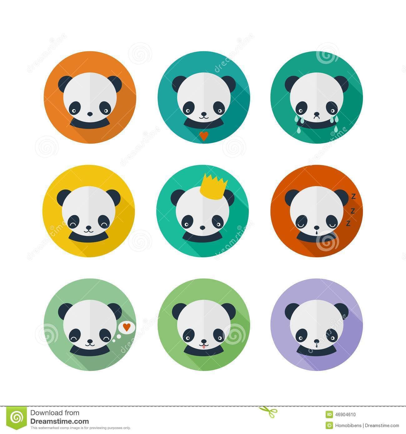 ... in flat design. Cute panda, animal avatars with different emotions