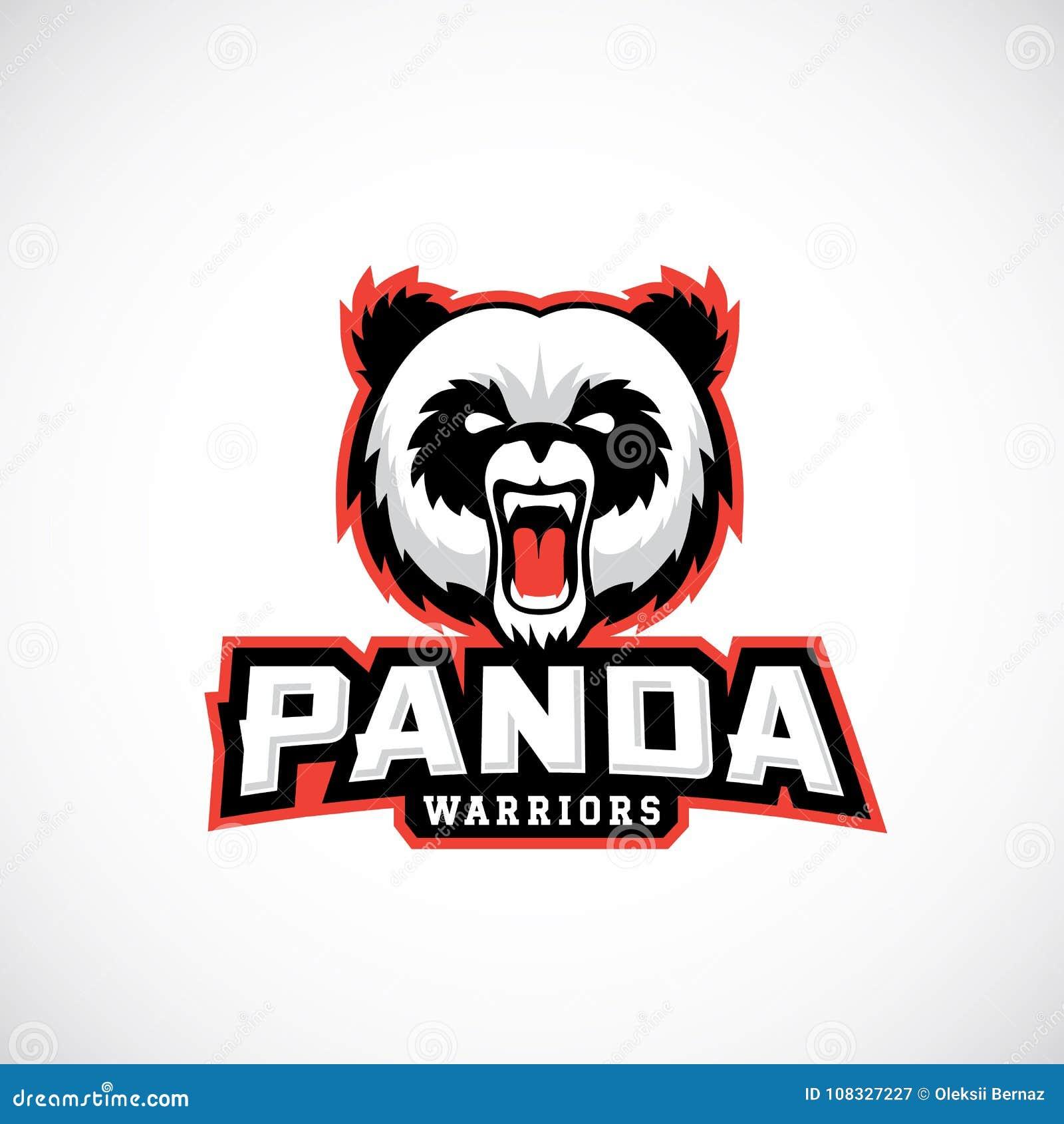 Panda Warriors Abstract Vector Sign, emblema o Logo Template Deporte Team Mascot Label Cara enojada del oso con tipografía