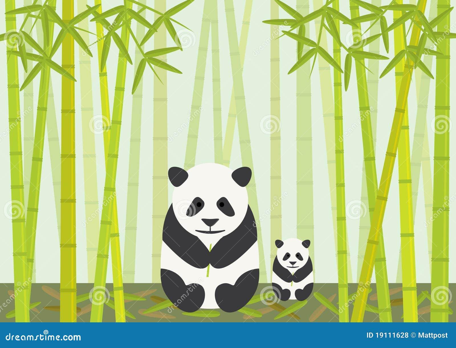 Pandas Die Bambus Essen Vektor Abbildung Illustration Von