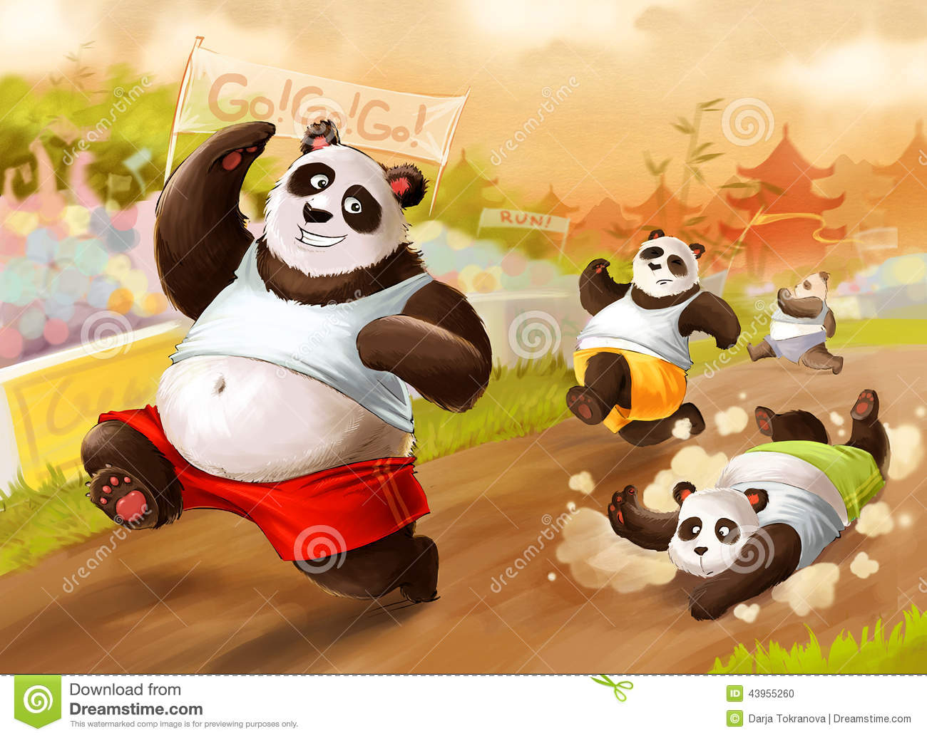 Cute cartoon pandas running a marathon.