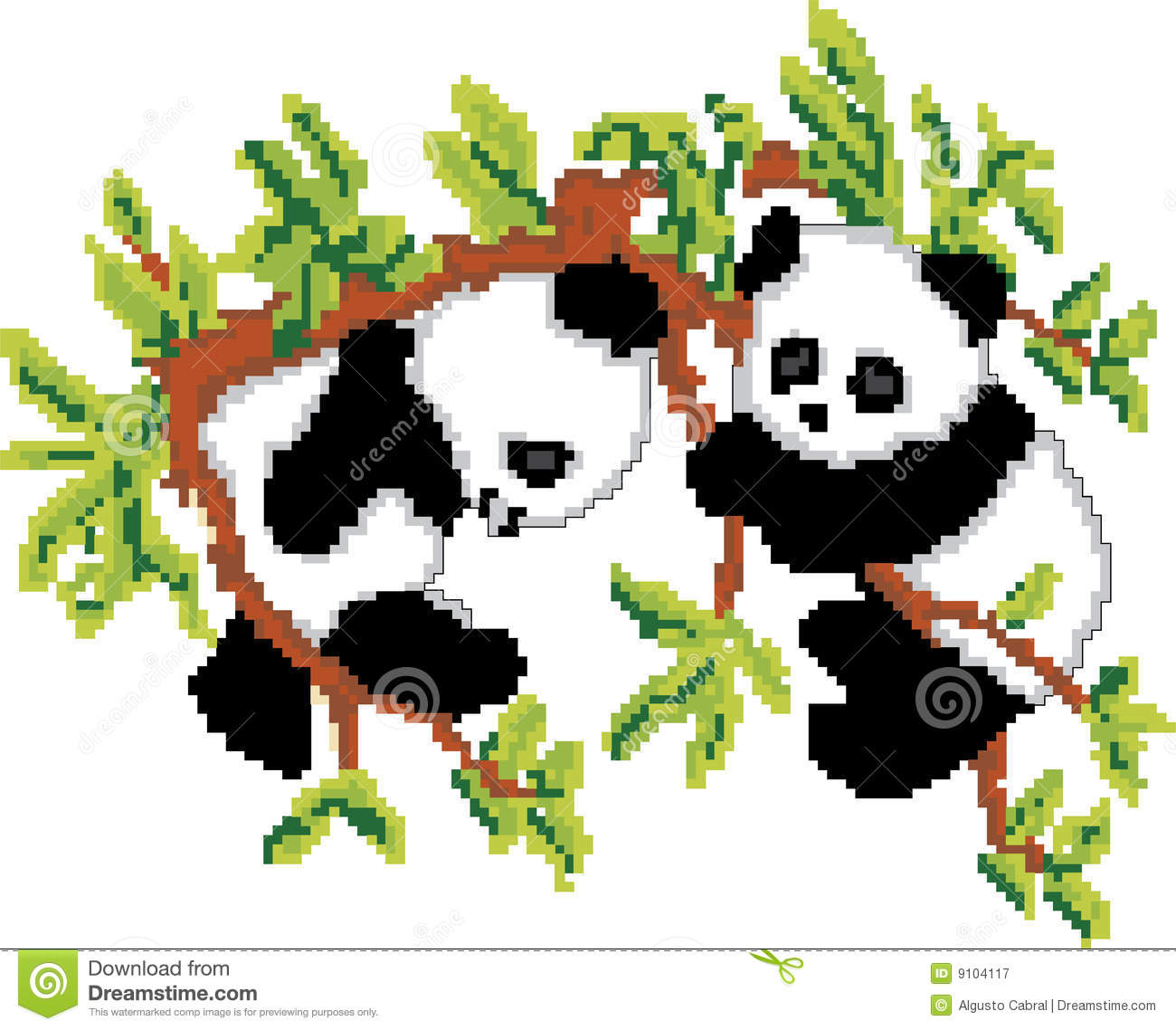 Pandas on Tree Pixel Art stock vector  Illustration of bear