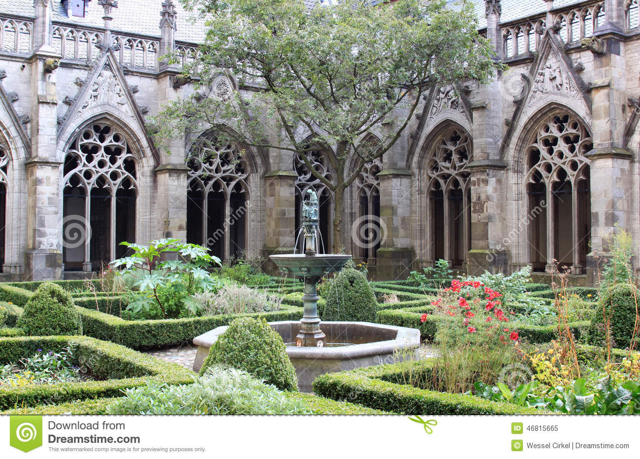 The Pandhof Garden Of Dom Church, Utrecht, Holland Stock