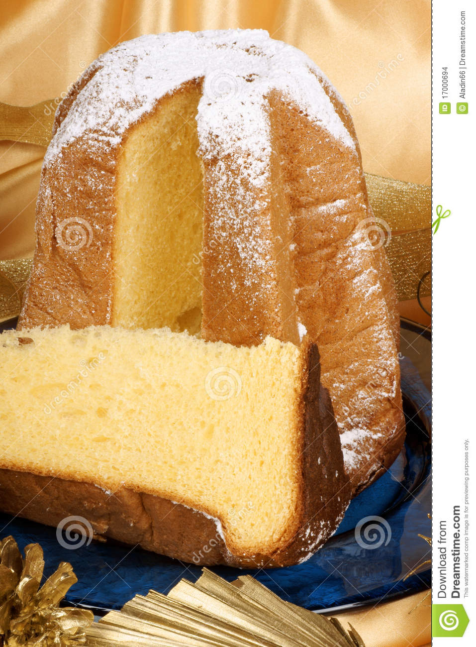 Christmas composition with Pandoro the golden cake of Verona served on ...